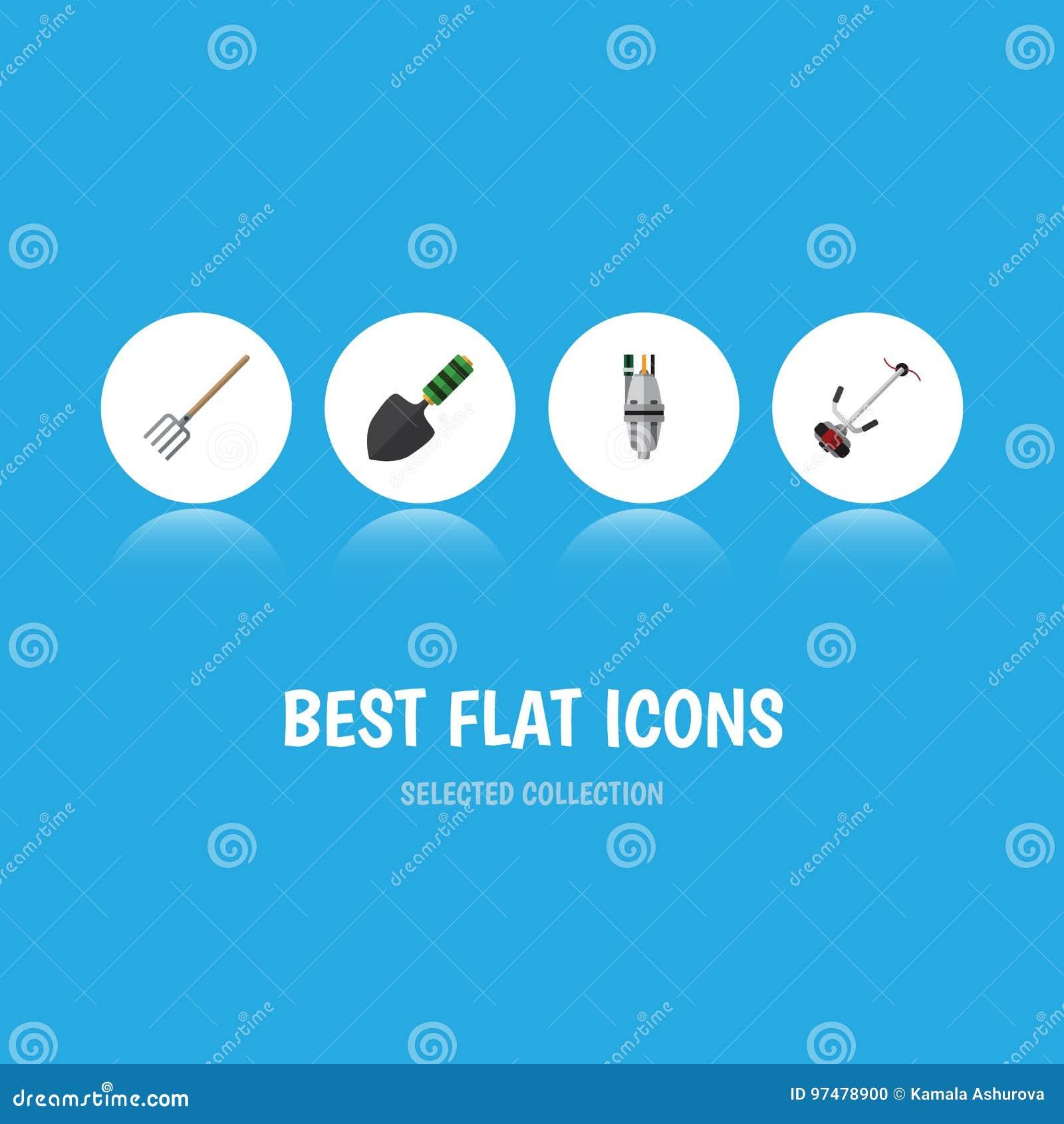 Insieme piano della dacia dell icona della pompa, di Hay Fork, della cazzuola e di altri oggetti di vettore Inoltre include la po