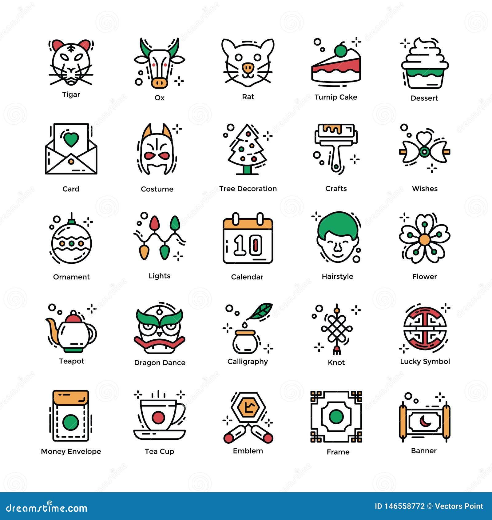 Insieme piano delle icone del nuovo anno cinese