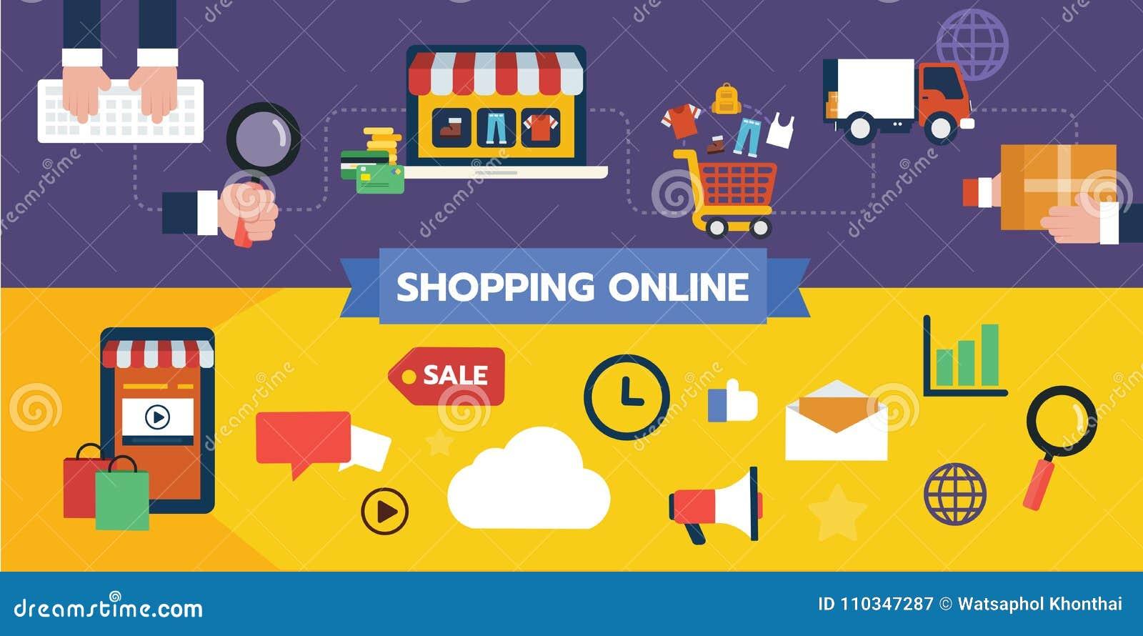Insieme piano di progettazione dell icona dell illustrazione dei concetti online di compera, flusso dell utente dell acquisto e p