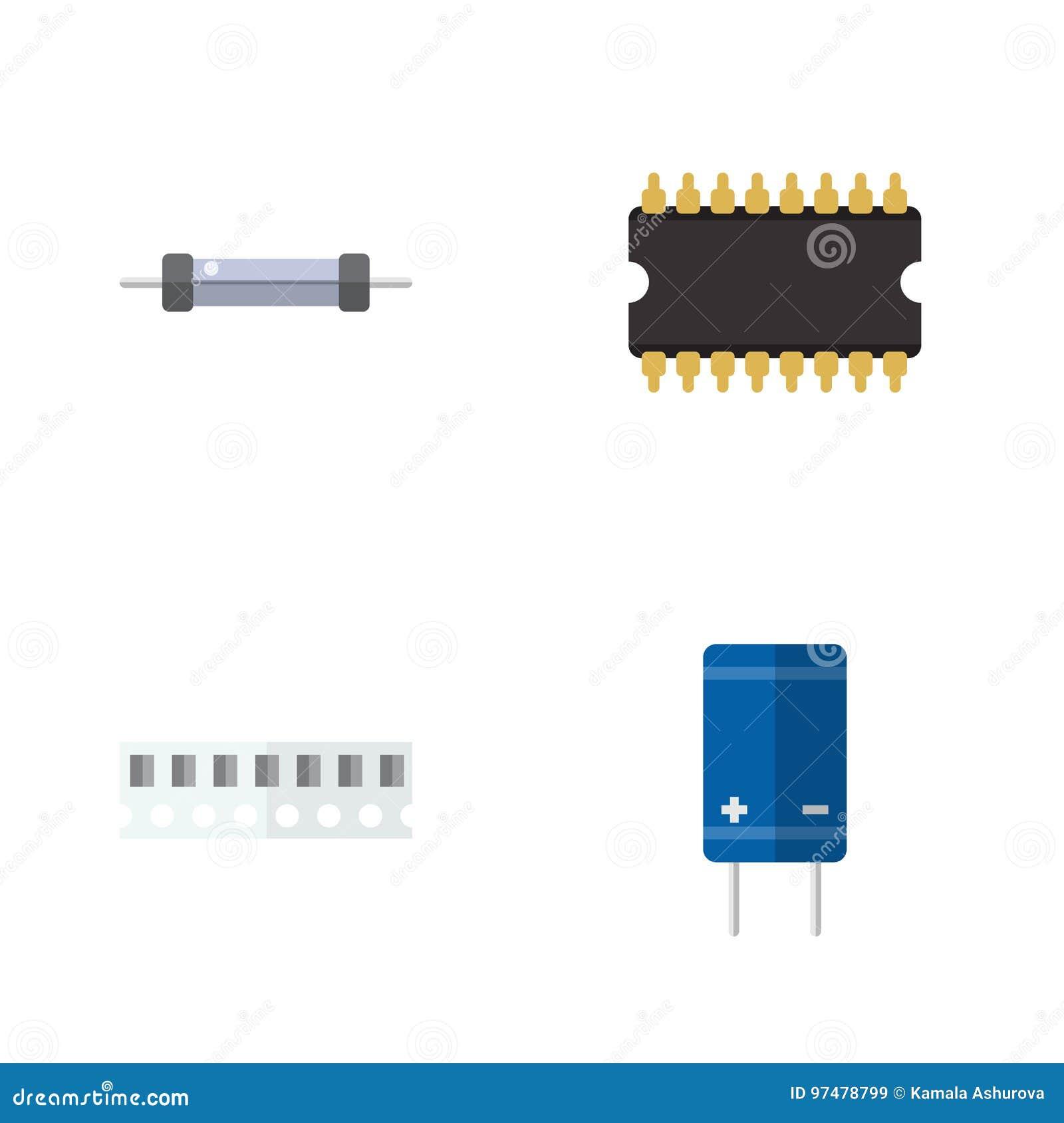 Insieme piano di tecnologia dell icona della memoria, del transistor, della resistenza e di altri oggetti di vettore Inoltre comp