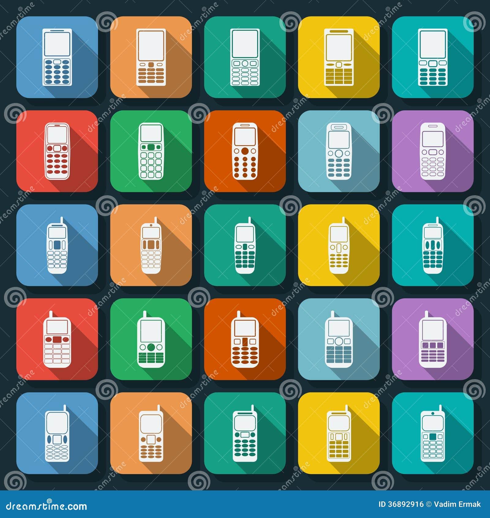 Download Insieme Piano Di Vettore Delle Icone Dei Telefoni Illustrazione Vettoriale - Illustrazione di visualizzazione, disegno: 36892916