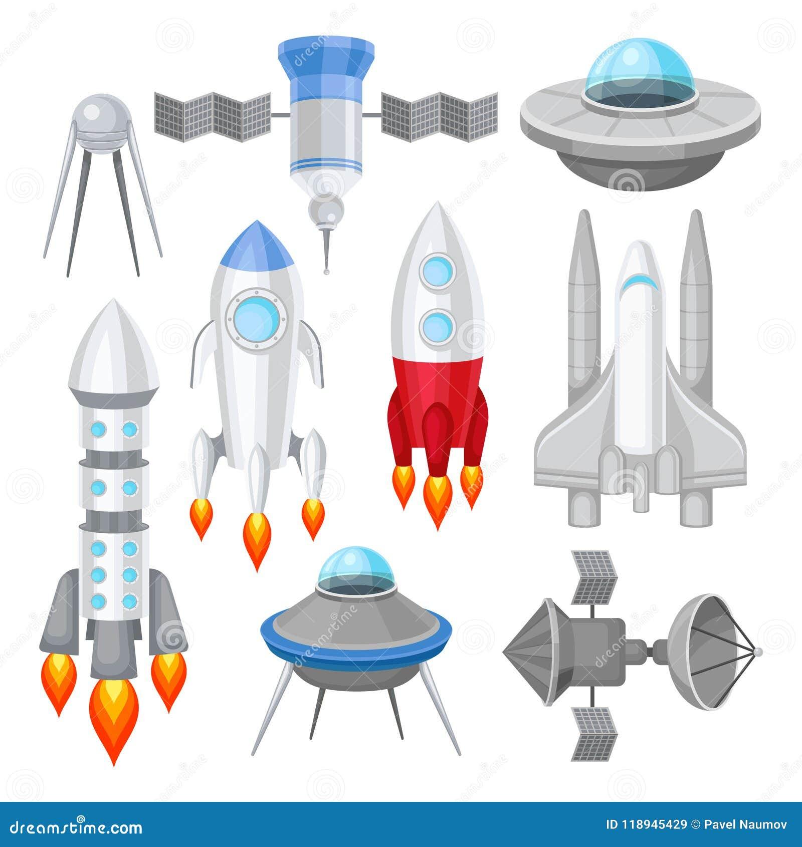 Insieme piano di vettore di vari veicoli spaziali Rockets con il fuoco di motore, grande navetta spaziale, dischi volanti stranie