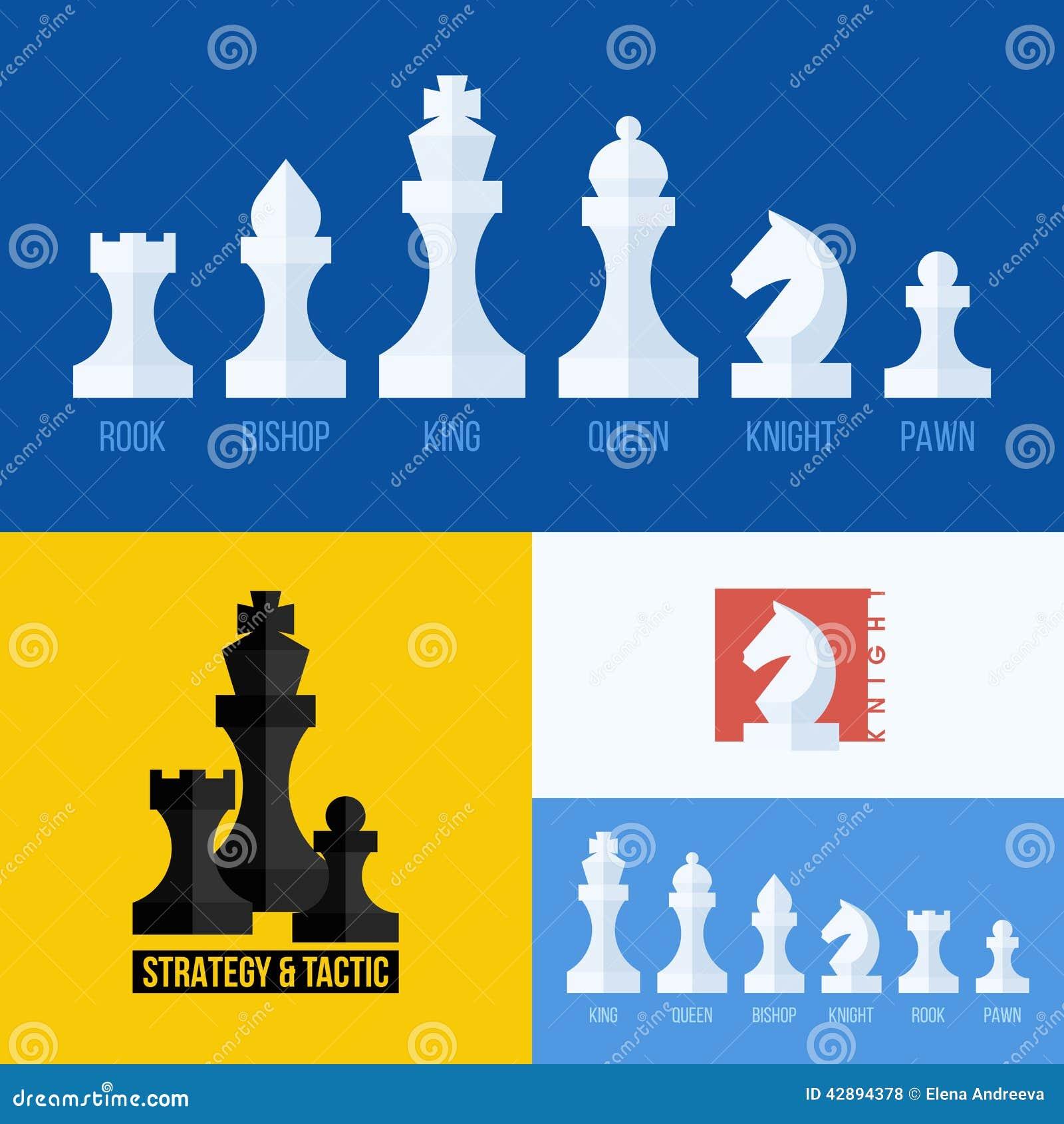 Insieme piano moderno di vettore delle icone di scacchi Alba della battaglia
