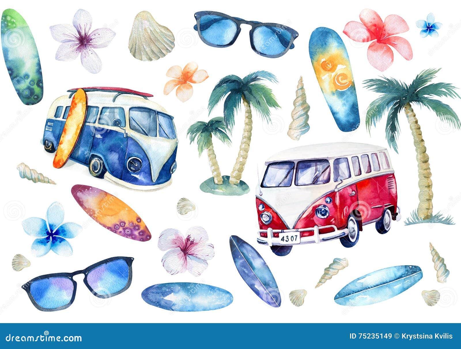 Insieme praticante il surfing dell oceano disegnato a mano dell acquerello Festa della spiaggia tropicale