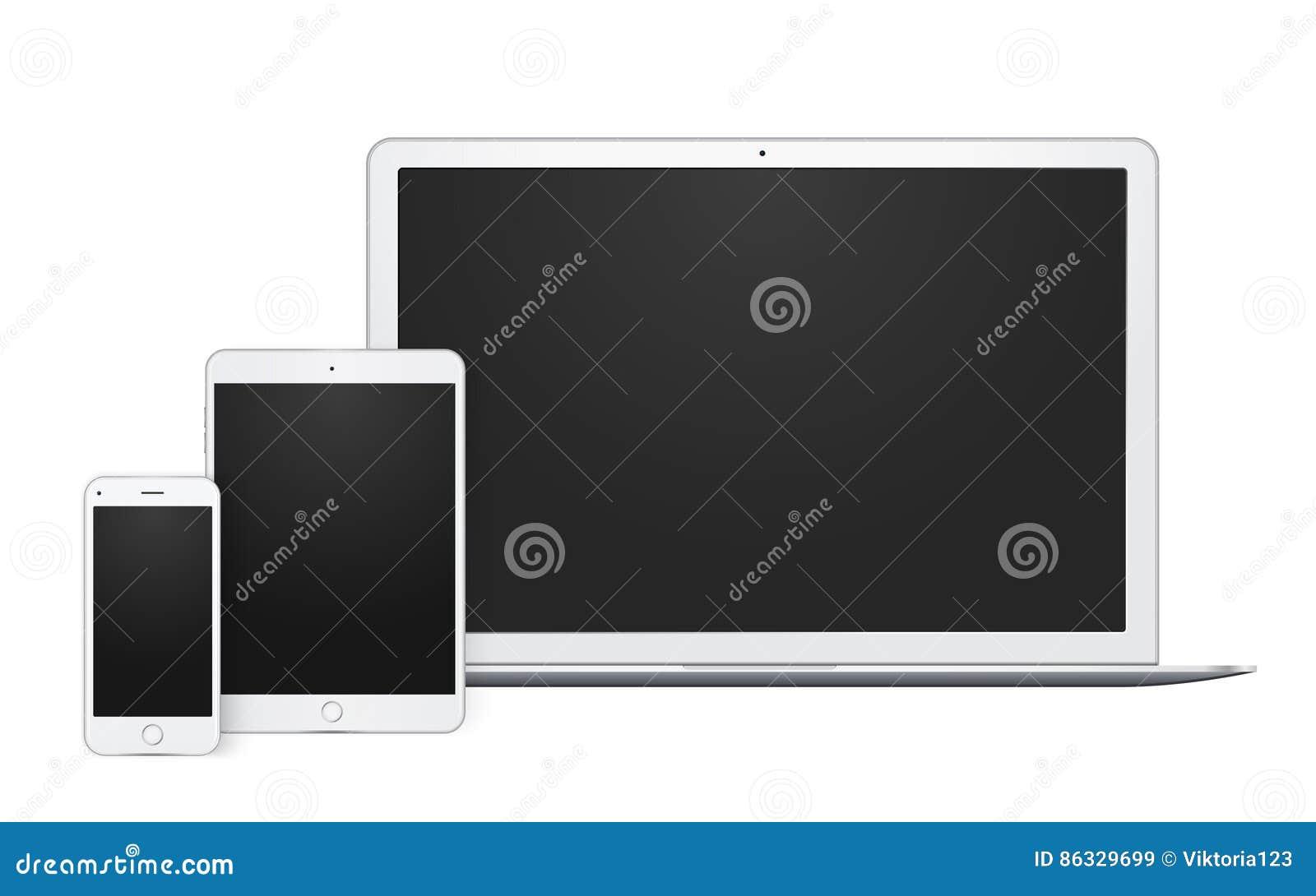Insieme realistico degli aggeggi, del computer portatile aperto, del modello del telefono e della derisione del cuscinetto su con