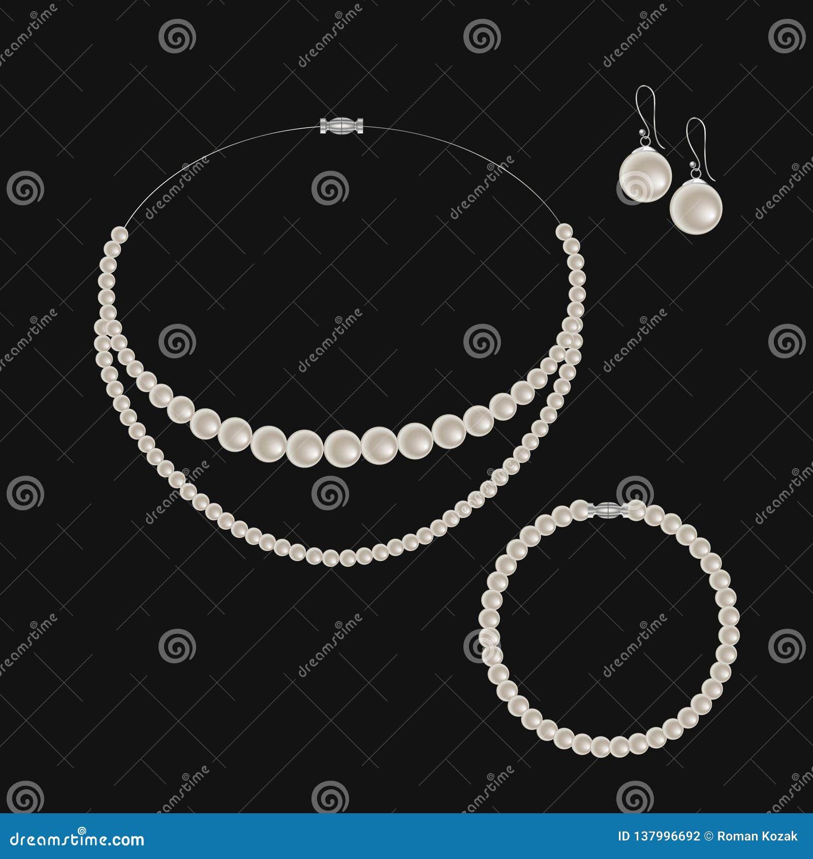 Insieme realistico di gioielli: collana, braccialetto ed orecchini della perla Isolato su priorità bassa nera