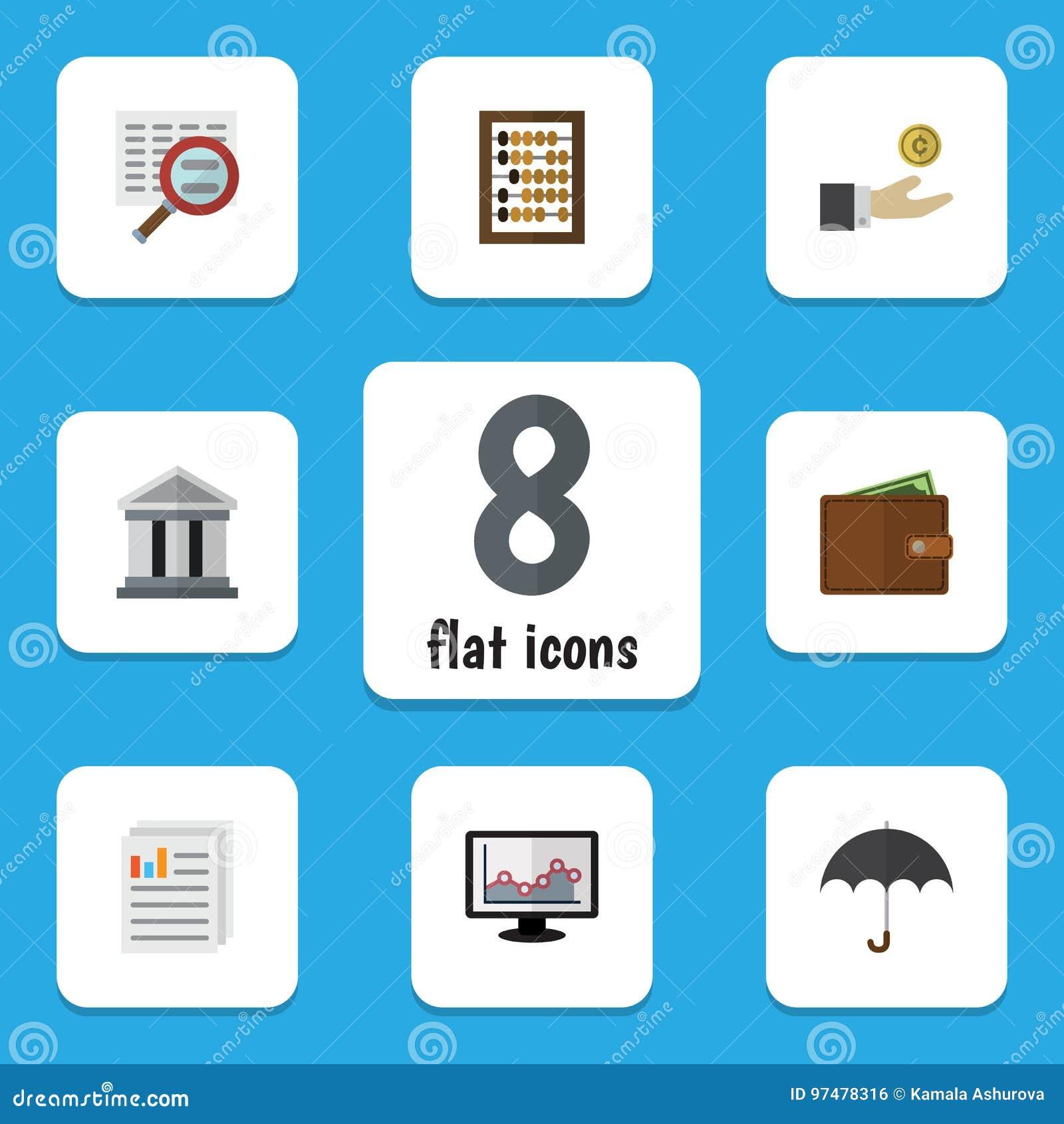 Insieme ricevuto dell icona piana del grafico, del portafoglio, del contatore e di altri oggetti di vettore Inoltre include il mo