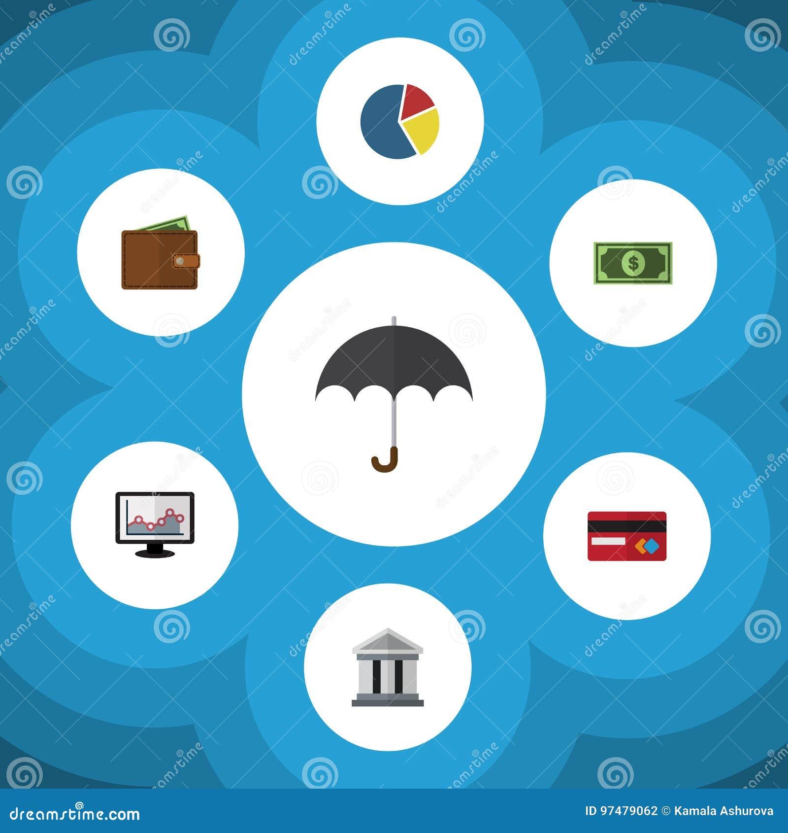 Insieme ricevuto dell icona piana del parasole, del pagamento, del portafoglio e di altri oggetti di vettore Inoltre comprende il