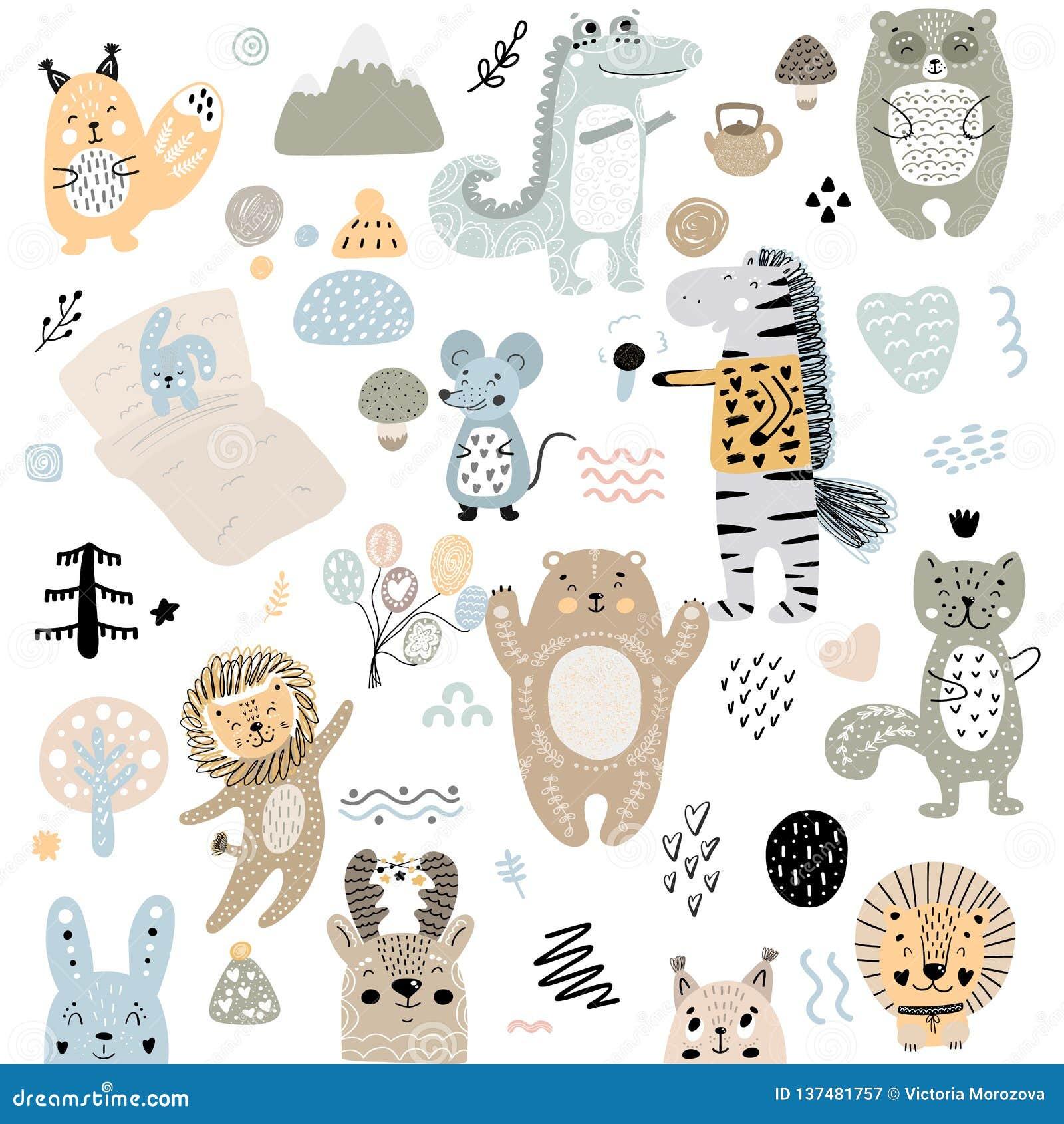 Insieme scandinavo del modello degli elementi di scarabocchi dei bambini dell animale selvatico e dei caratteri svegli di colore: