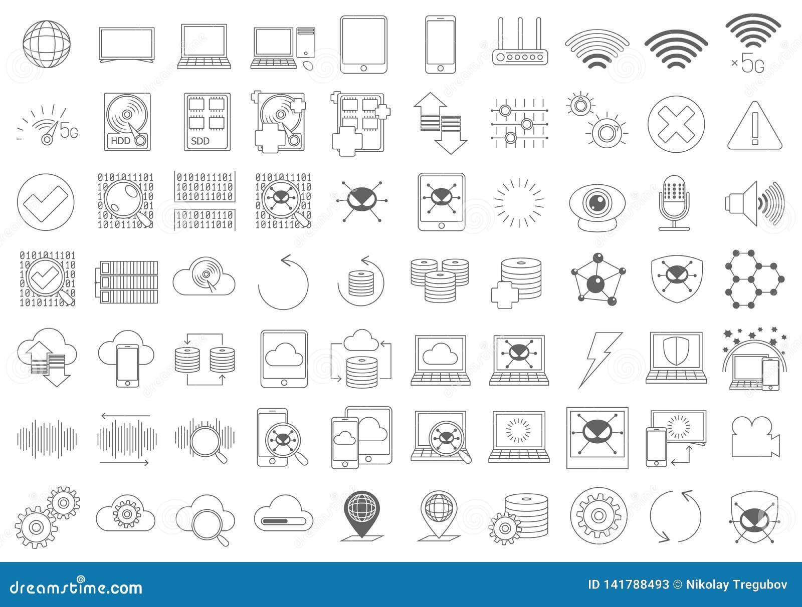 Insieme semplice della linea relativa icone di vettore delle componenti di computer