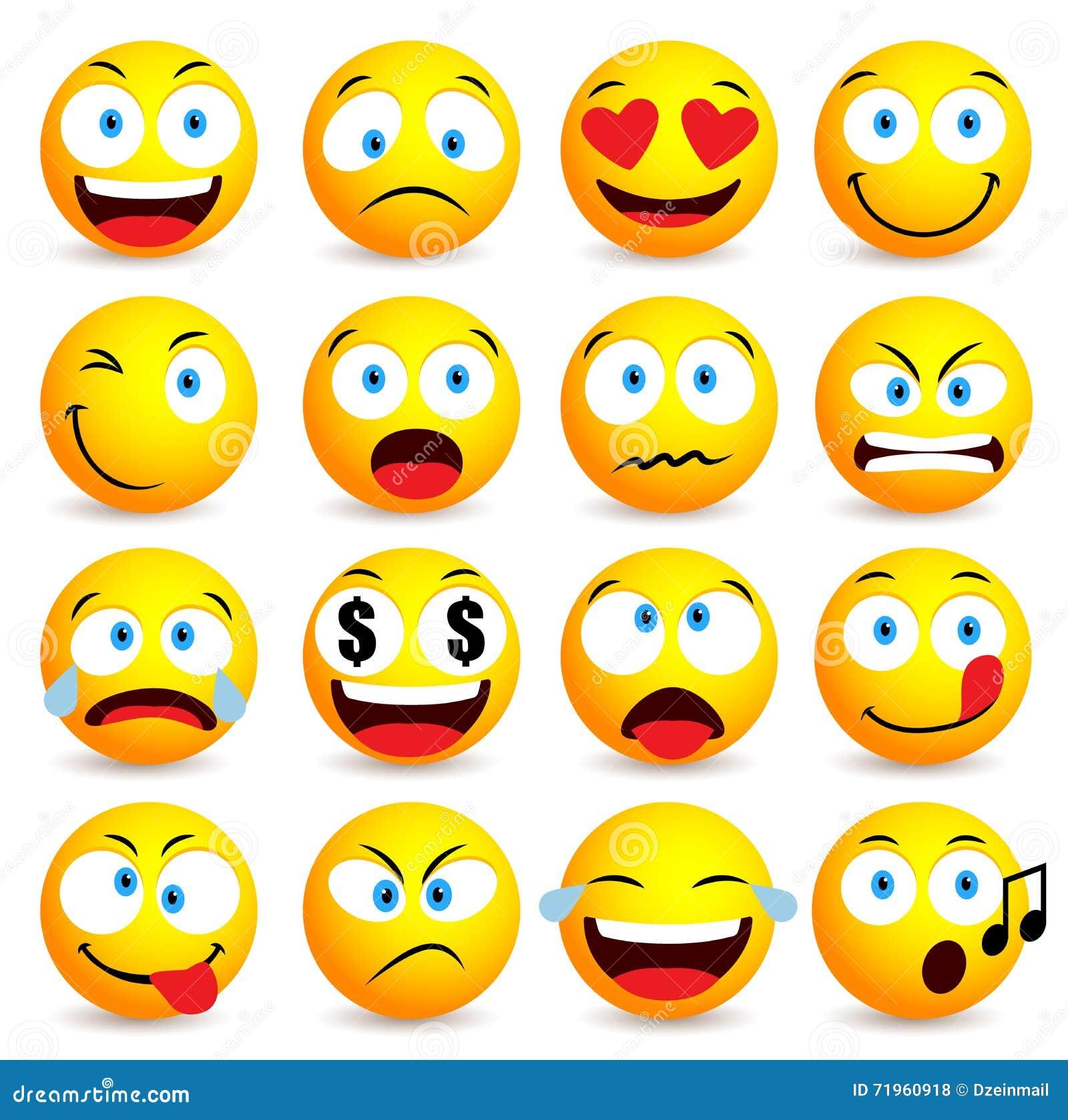 Insieme semplice sorridente dell emoticon e del fronte con le espressioni facciali