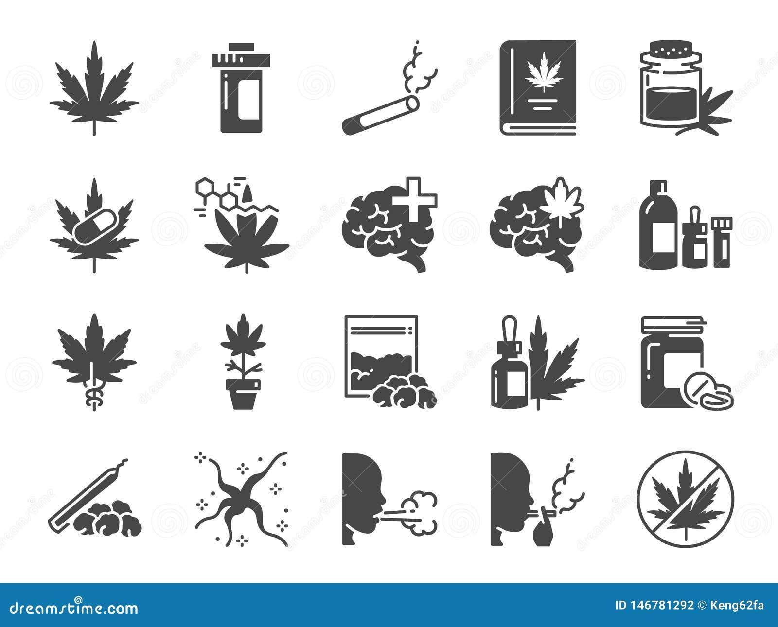 Insieme solido dell icona di Cannabidiol Icone incluse come CBD, cannabis, il trattamento, l erbaccia, il tabacco e pi?