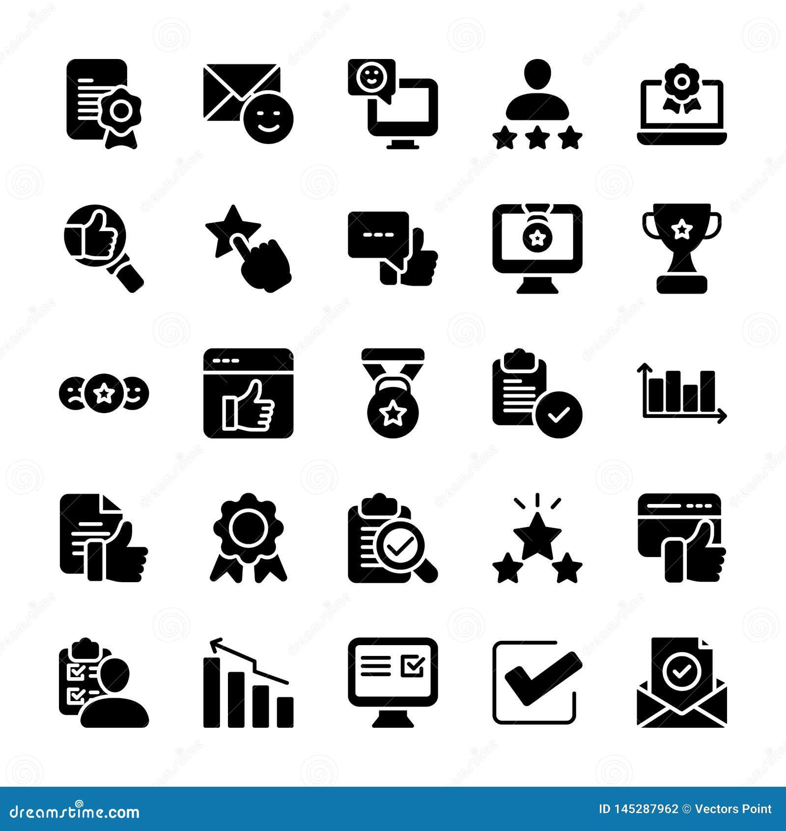 Insieme solido emozionale delle icone della lista di controllo e di opinione