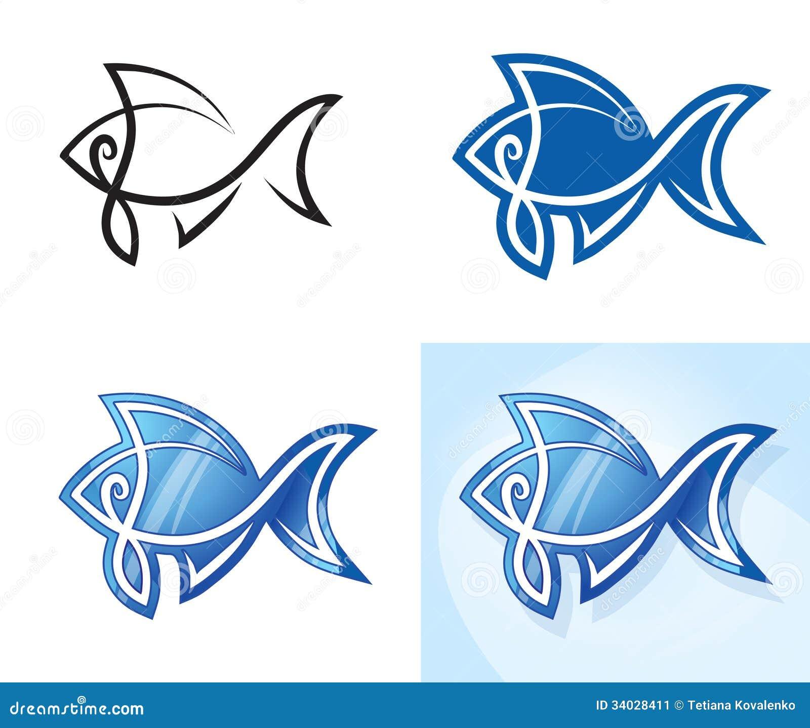 Insieme stilizzato del pesce illustrazione di stock - Pagina di colorazione del pesce ...