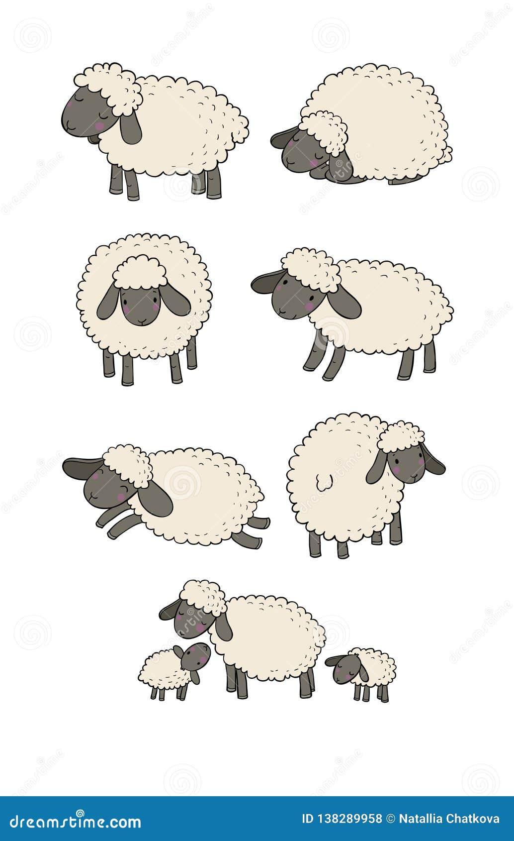 Insieme Sveglio Delle Pecore Del Fumetto Animali Da