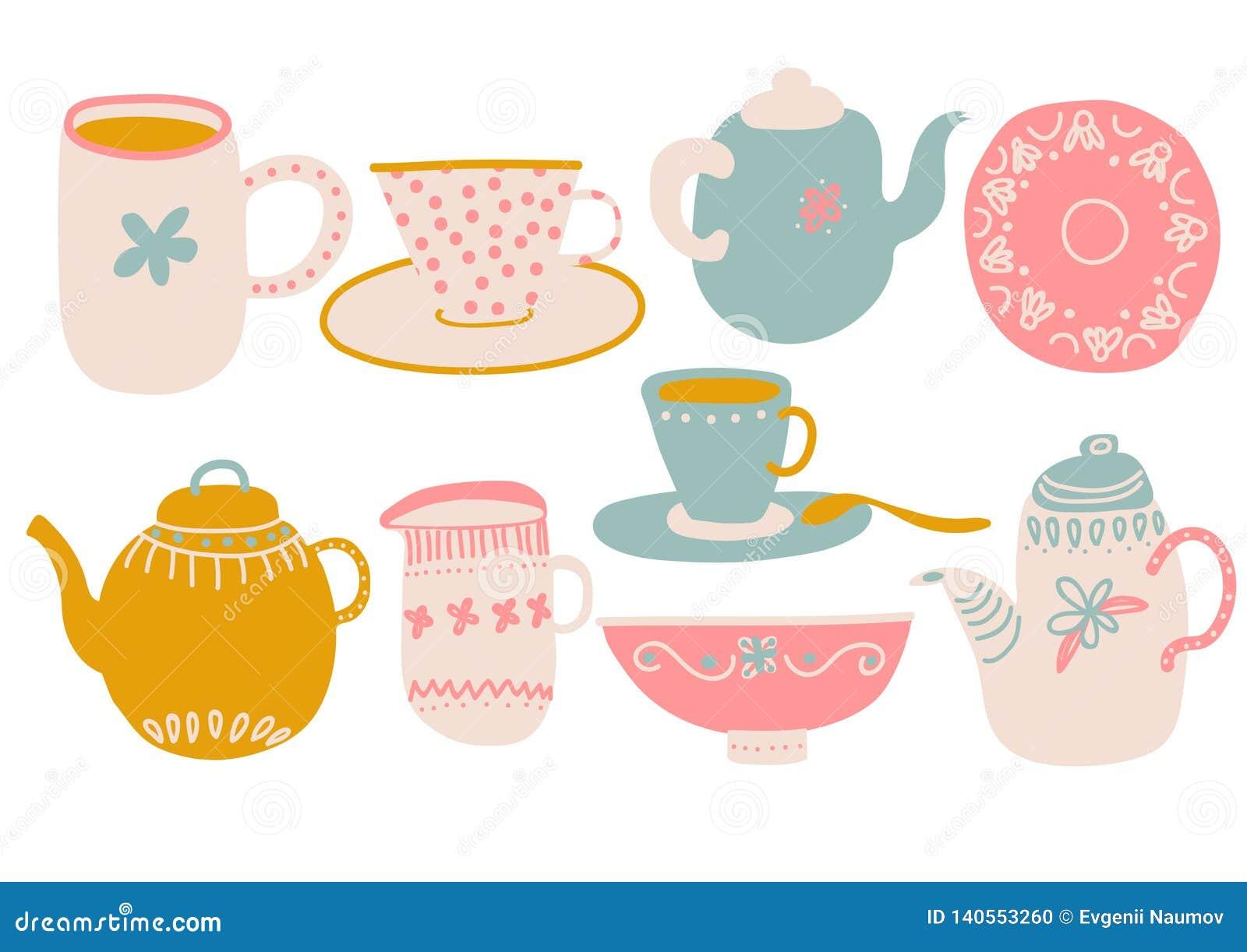 Insieme sveglio di tè o del caffè, elementi di progettazione con la teiera, tazza da the, piattino, latte della brocca ed illustr