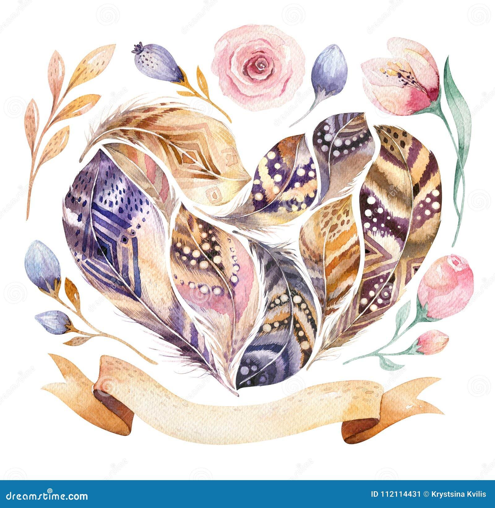 Insieme vibrante della piuma delle pitture disegnate a mano dell acquerello Lo stile di Boho mette le piume alla forma del cuore