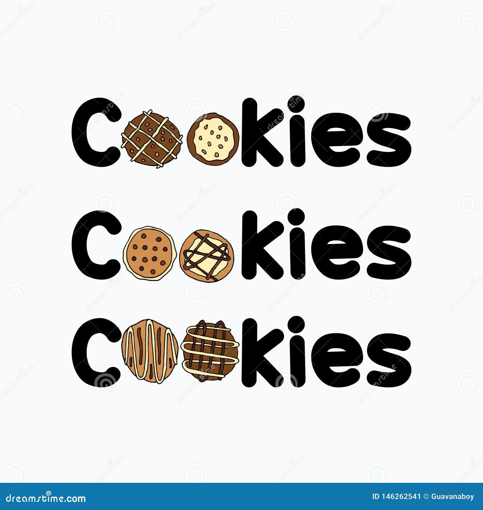 Insiemi del materiale illustrativo di logo dei biscotti