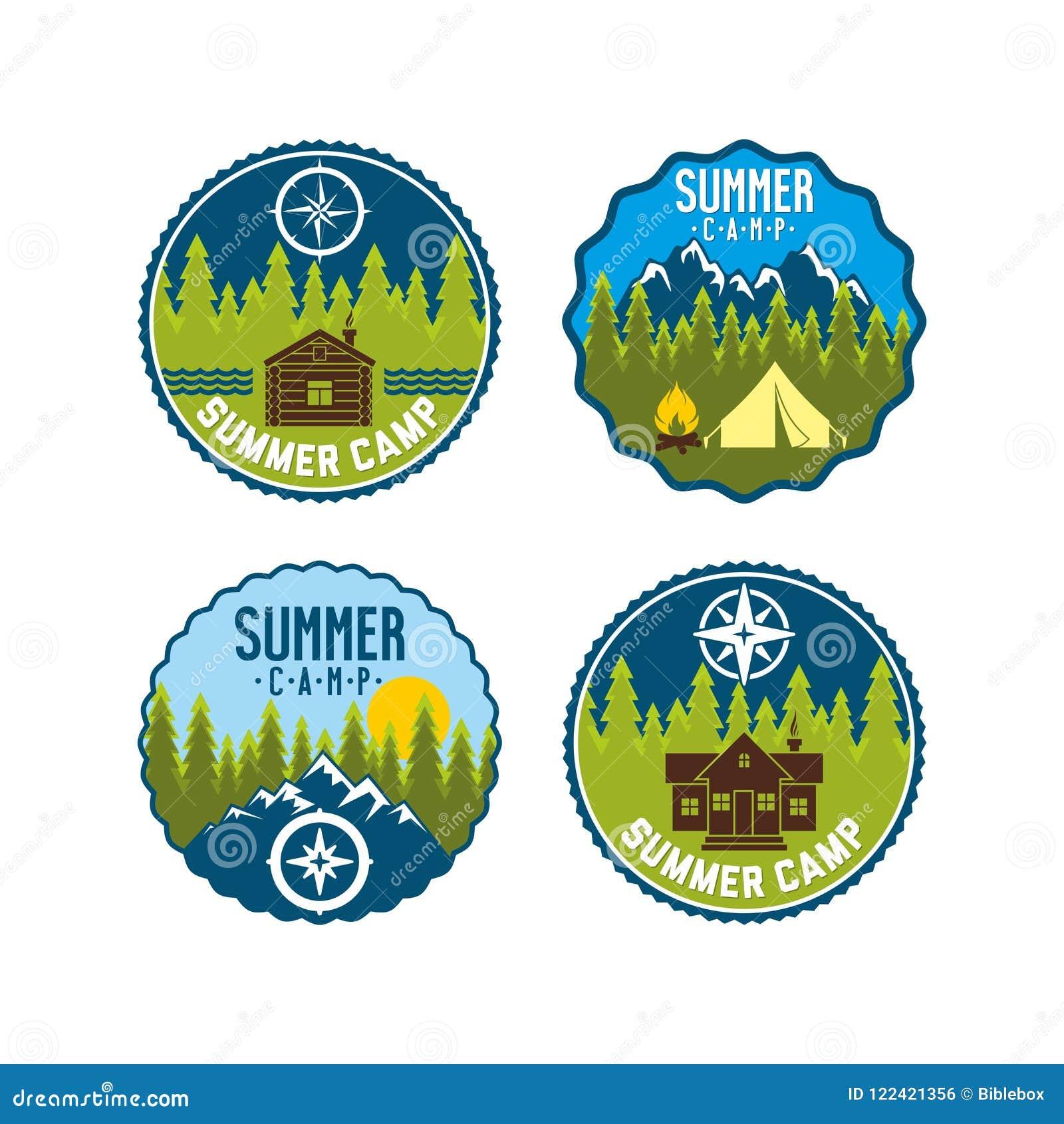 Insigne de colonie de vacances Ensemble de logo de camp