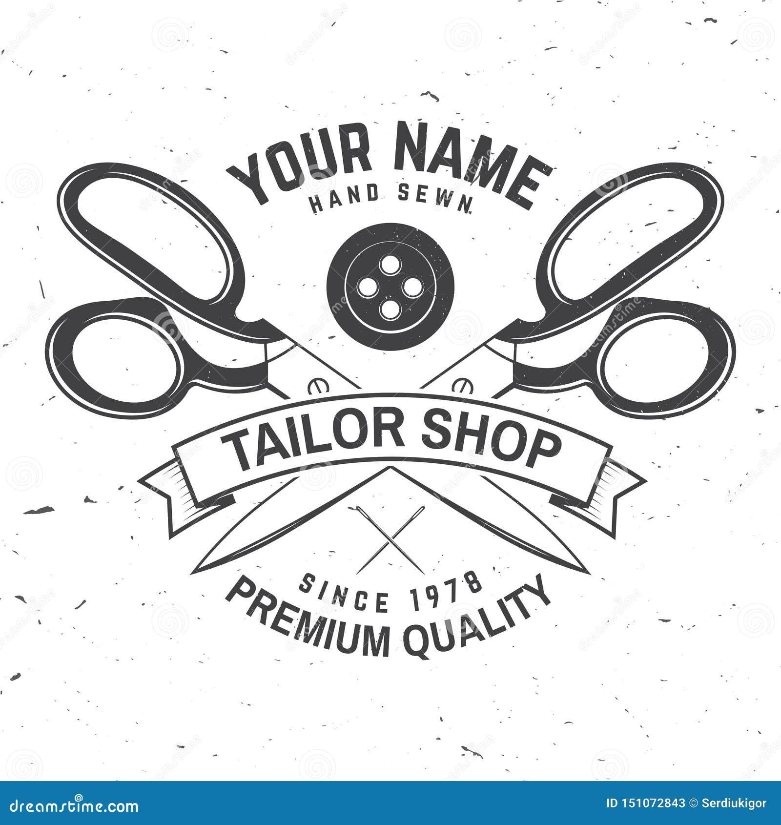 Insigne de magasin de tailleur Vecteur Concept pour la chemise, la copie, le label de timbre ou la pièce en t Conception de typog