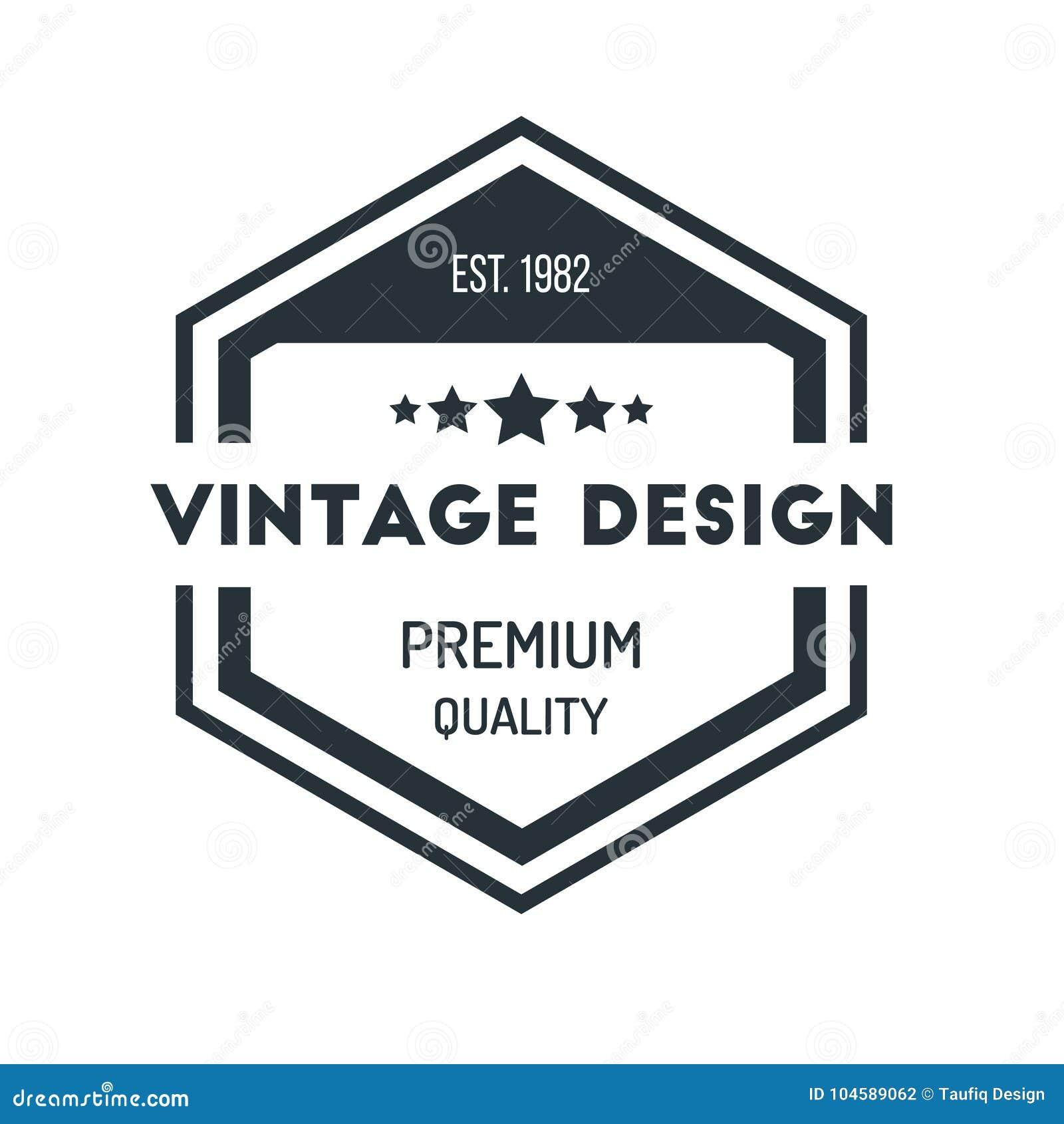 Insigne Logo Design Template Vector Symbol de hippie de vintage d hexagone