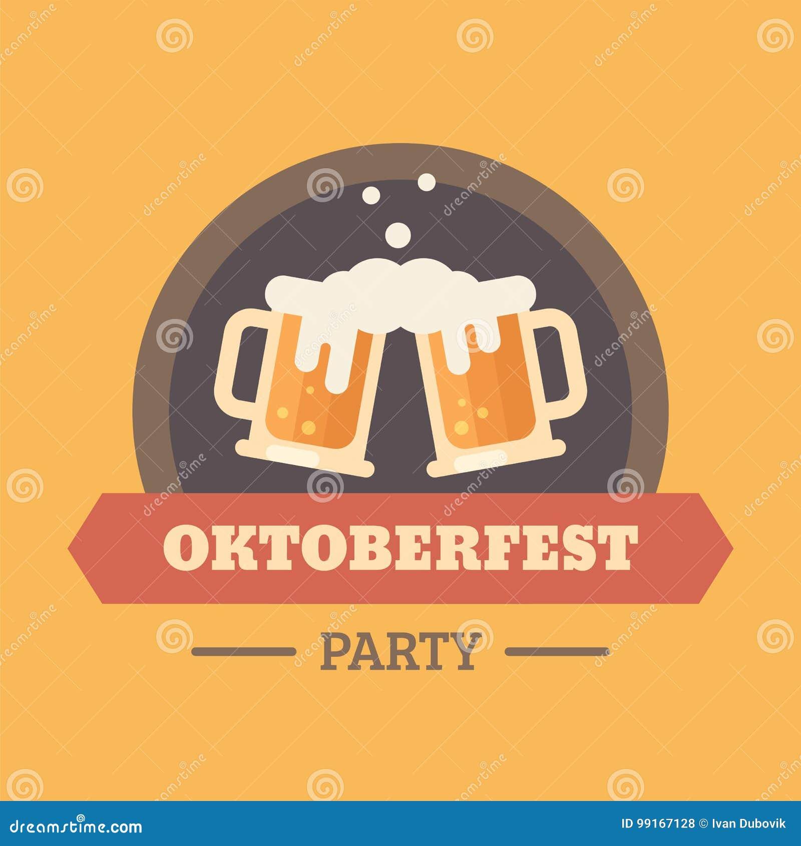 Insigne plat d illustration de festival de bière d Oktoberfest