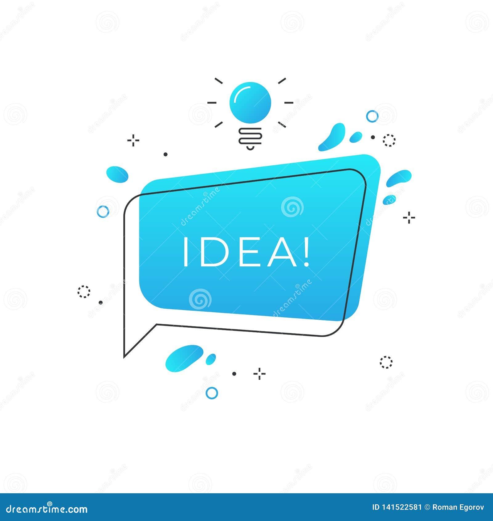 Insigne rapide d astuces L idée de tour de bulle de la parole avec l ampoule, font un brainstorm le conseil créatif d affaires, a