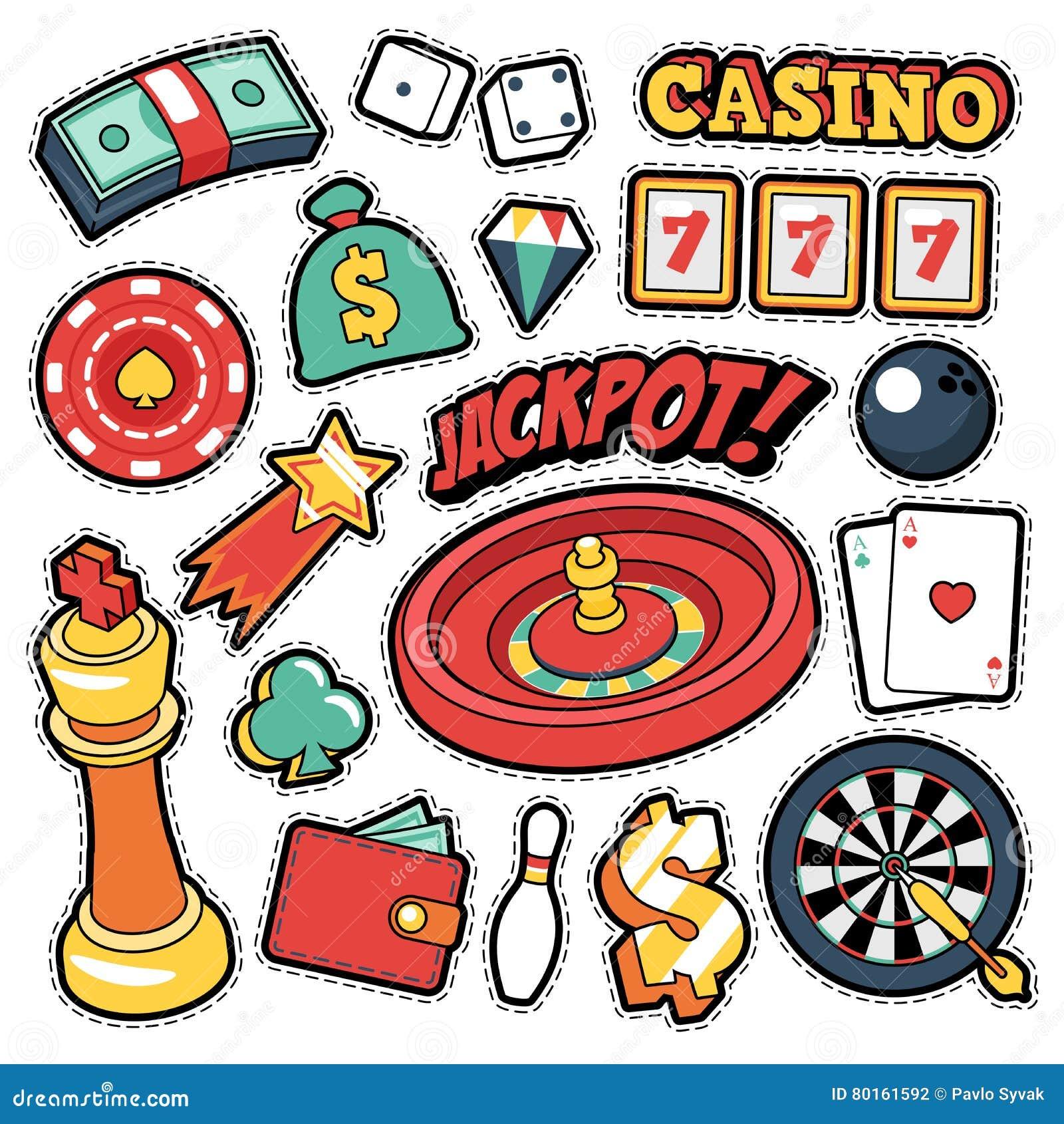 Insignes de casino, corrections, autocollants - cartes d argent de roulette de gros lot dans le style comique