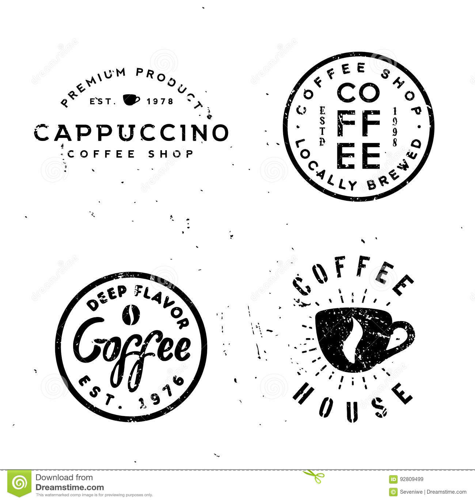 Insignes monochromes minimaux de vintage de café, rétros labels vieux-dénommés