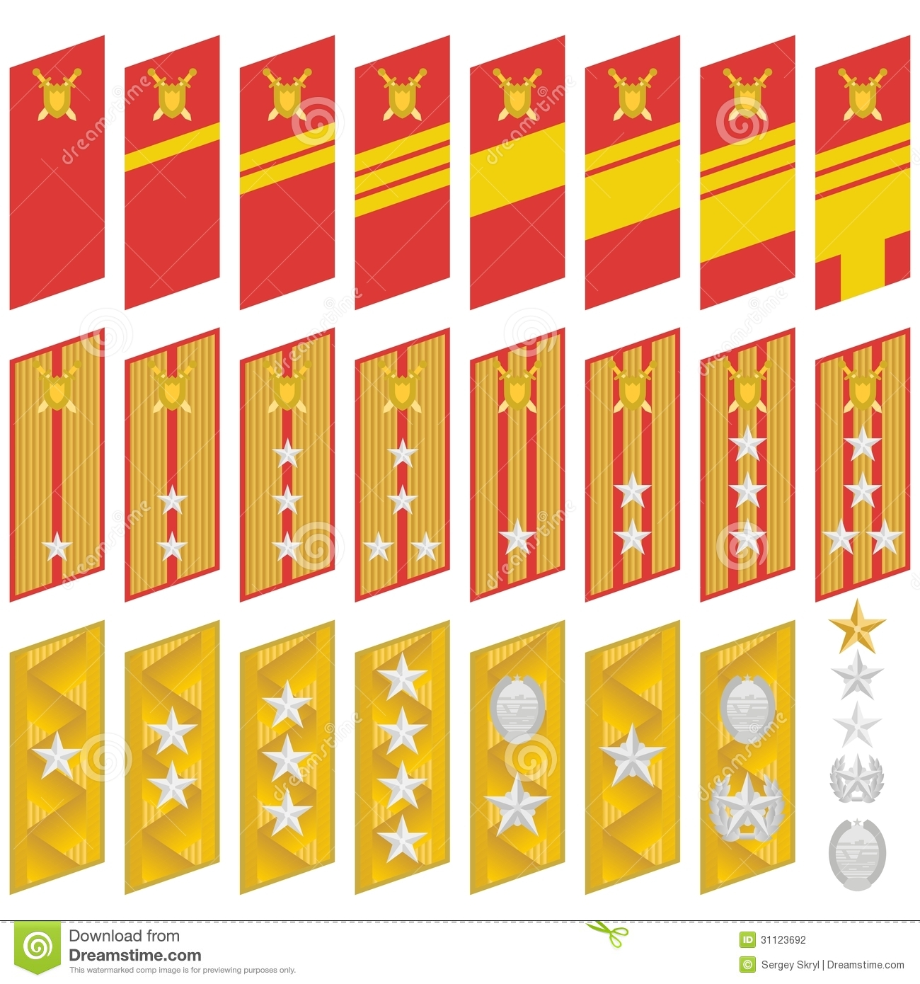 Military ranks and insignia of the world. The illustration on a white ...
