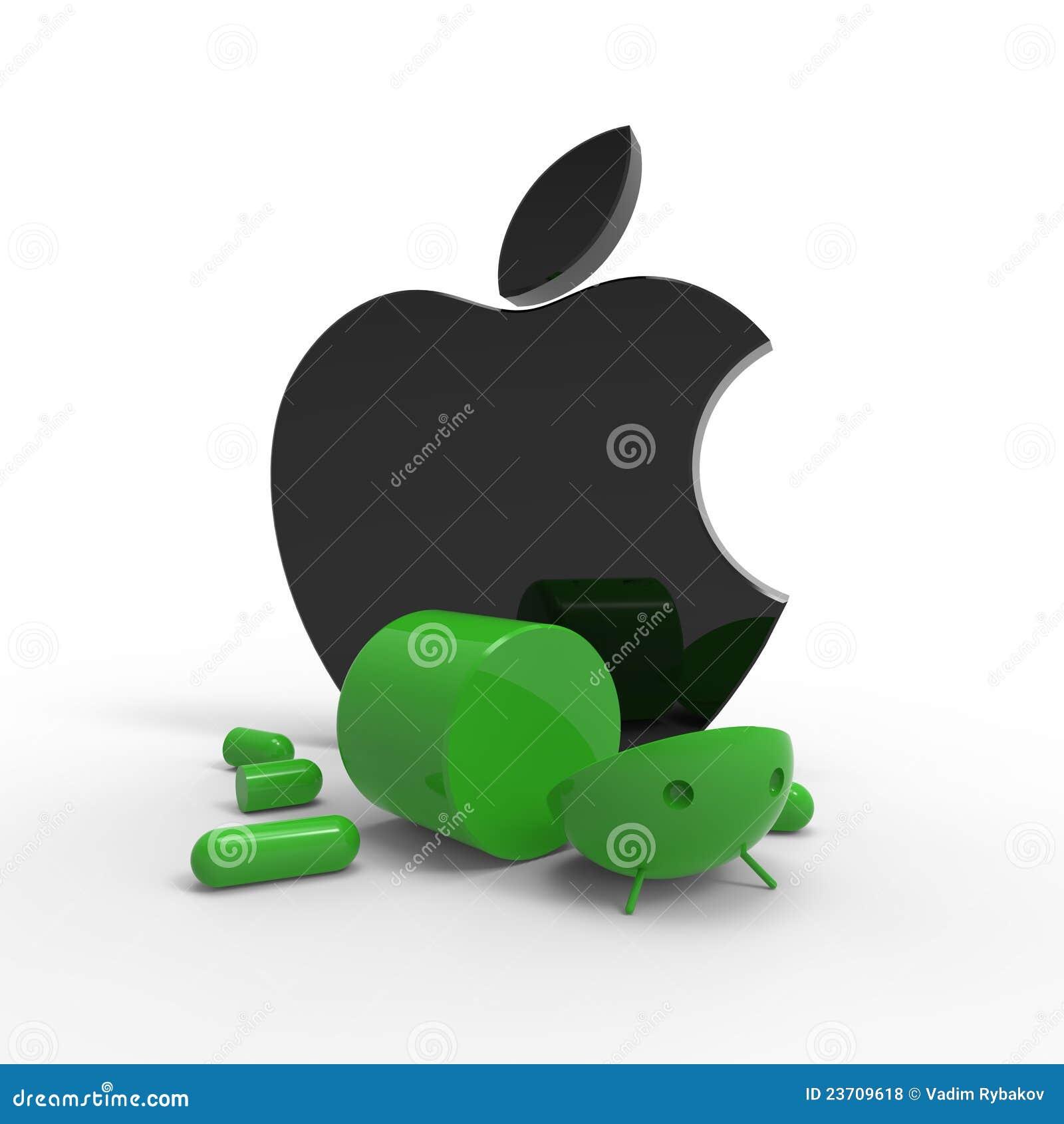 Insignia de Apple contra insignia androide. Aislado.