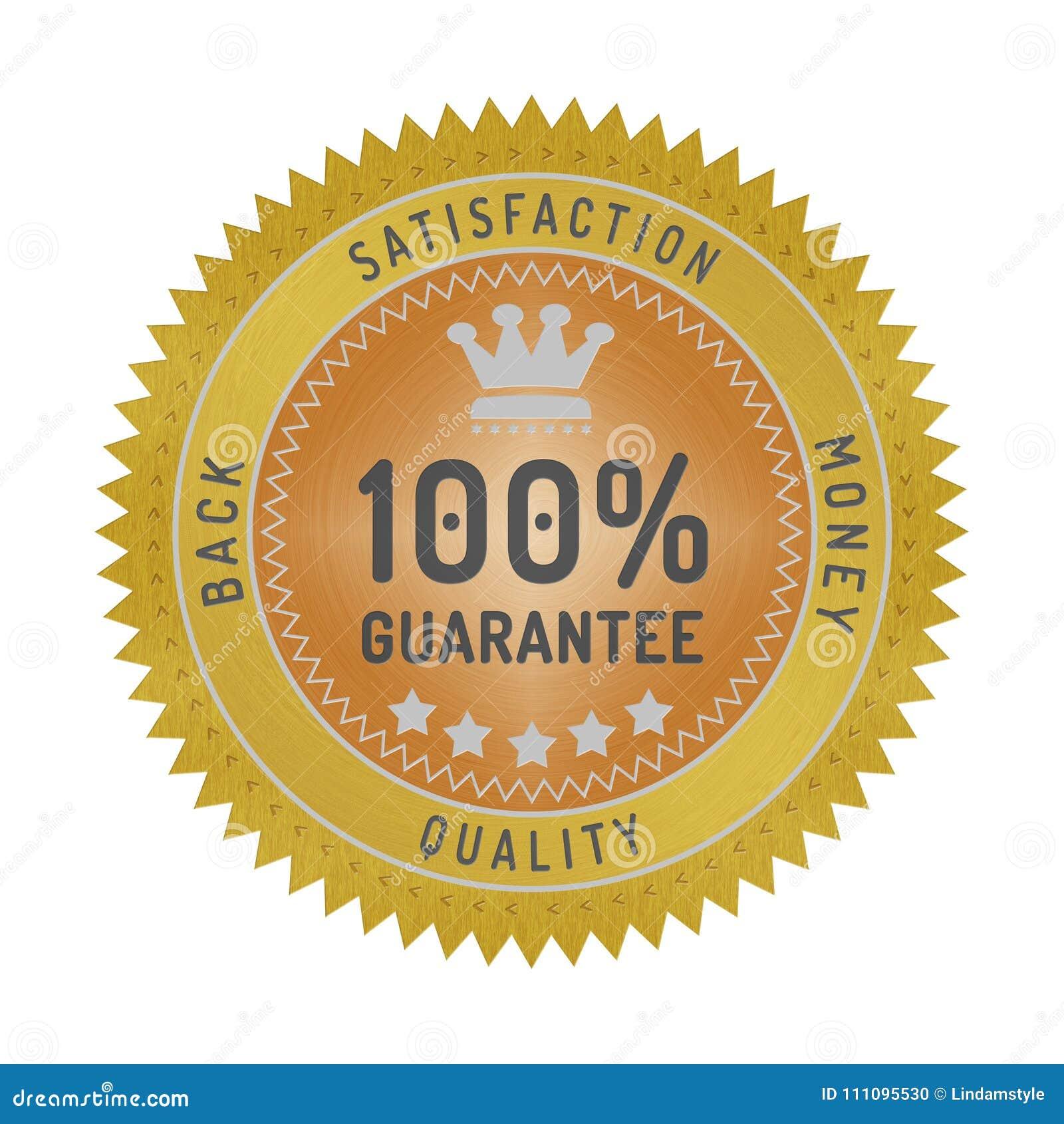 Insignia de la garantía de calidad aislada en blanco
