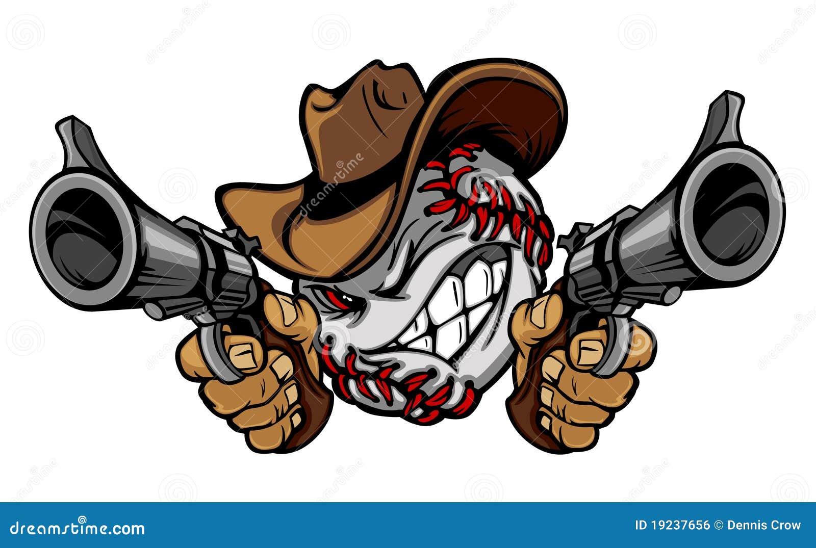 Insignia de la ilustración del vaquero del béisbol