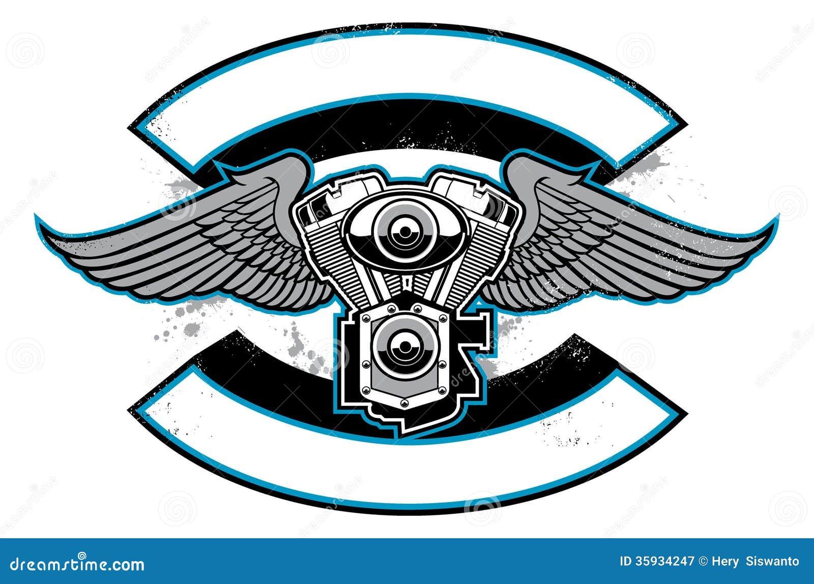 Insignia Del Club De La Moto Con El Motor Y Las Alas