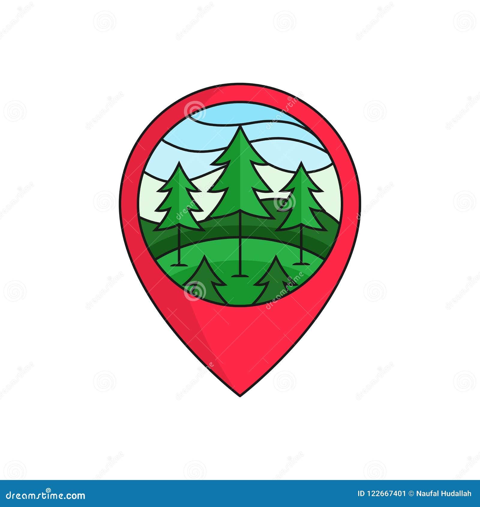 Insignia Del Logotipo Del Localizador Del Perno Del Mapa Del Bosque ...