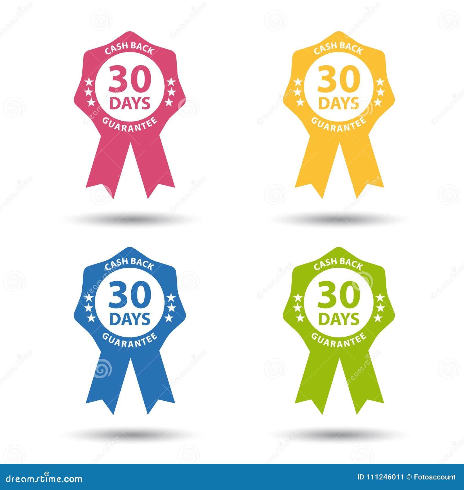 Insignia del sello garantía de la devolución de efectivo de 30 días - vector colorido fijado - aislada en blanco