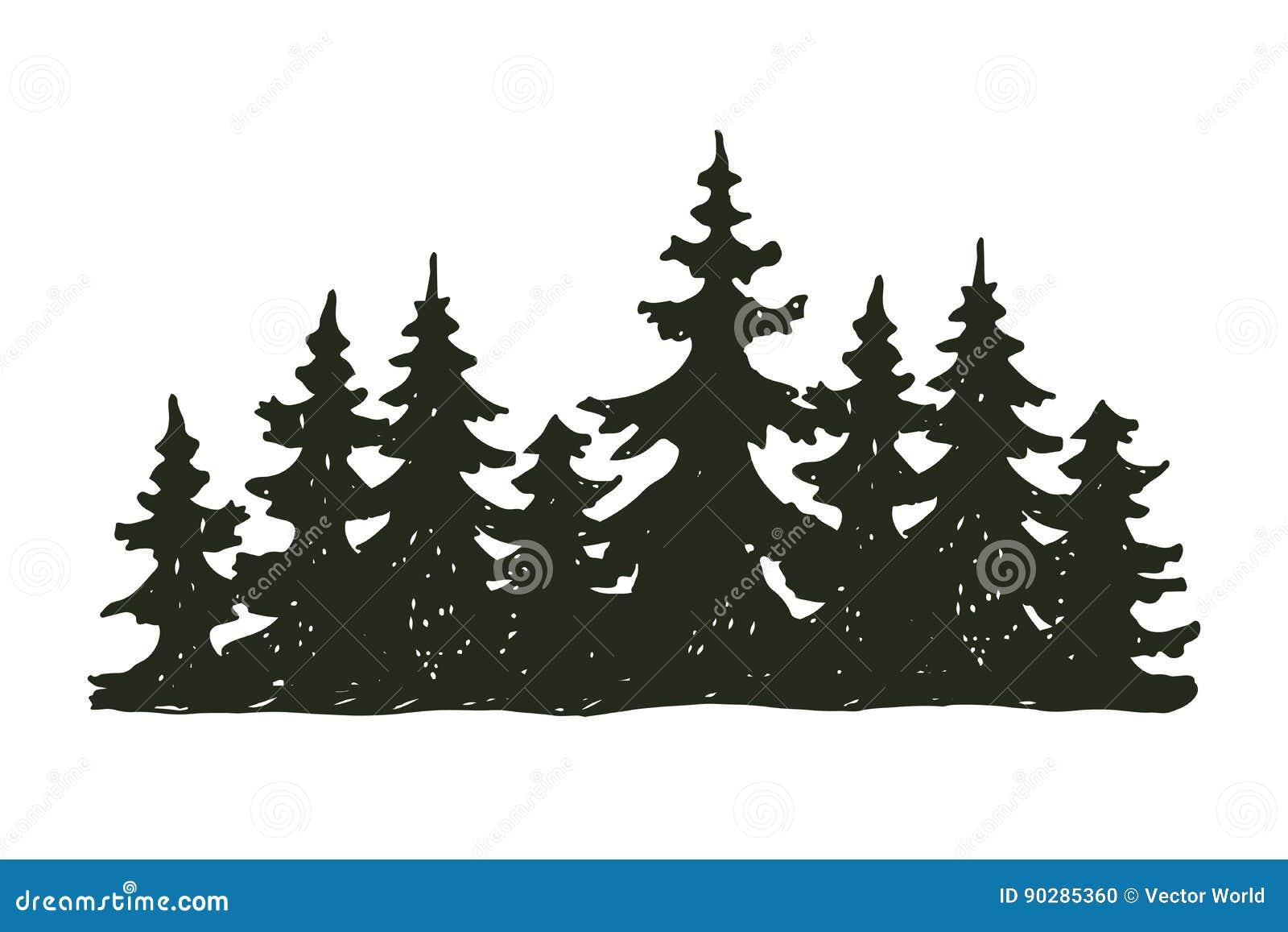 Insignia del viaje del árbol de la silueta al aire libre del negro, cedro de la rama de la picea del pino de los tops y extracto