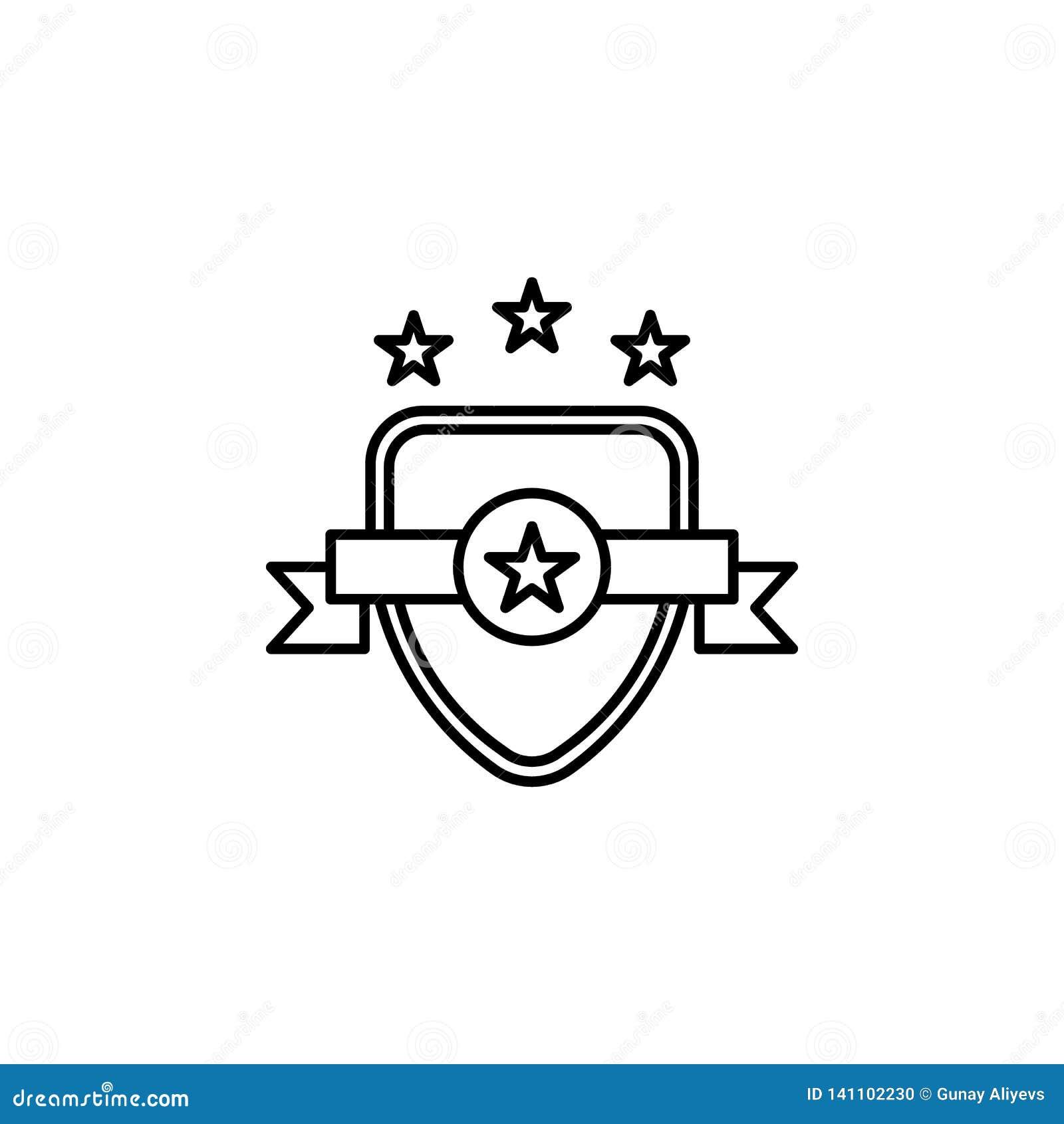Insignia, emblema, icono de la ley Elemento del icono de la ley y de la justicia Línea fina icono para el diseño y el desarrollo,