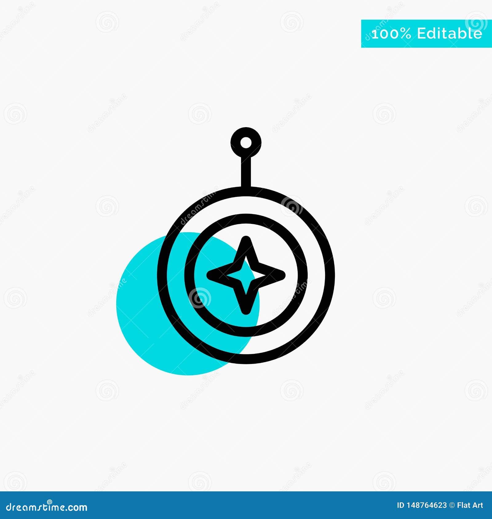 Insignia, estrella, medalla, escudo, icono del vector del punto del círculo del punto culminante de la turquesa del honor