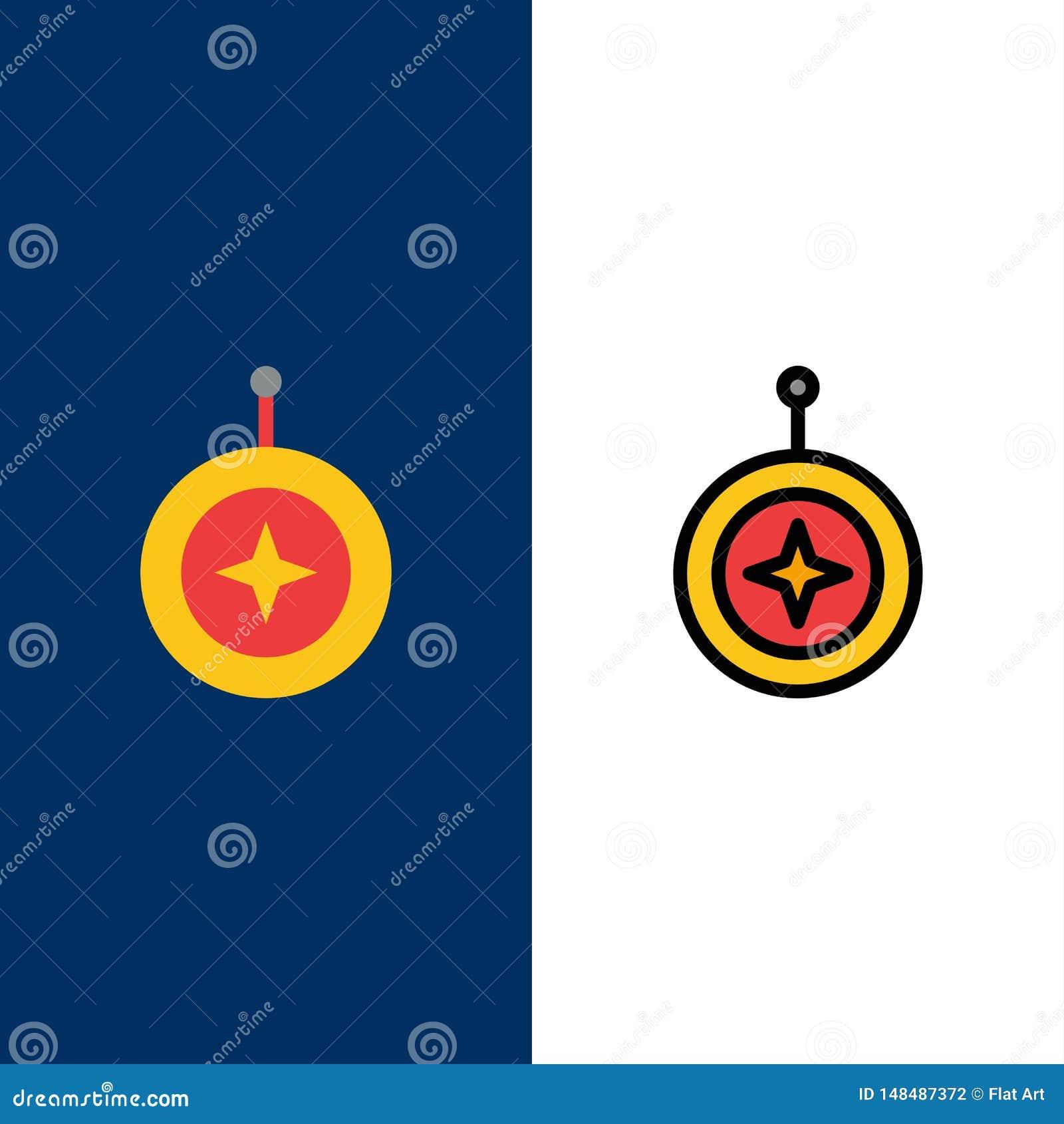 Insignia, estrella, medalla, escudo, iconos del honor El plano y la línea icono llenado fijaron el fondo azul del vector