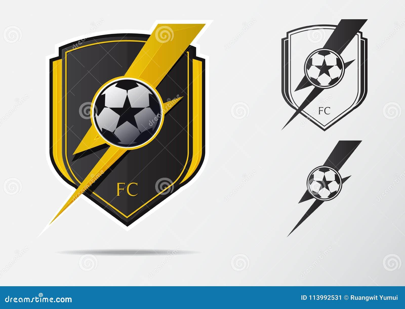 Insignia Logo Design del fútbol o del fútbol para el equipo de fútbol Diseño  mínimo de rayo de oro y de balón de fútbol blanco y negro Logotipo del club  del ... 72b128579b208