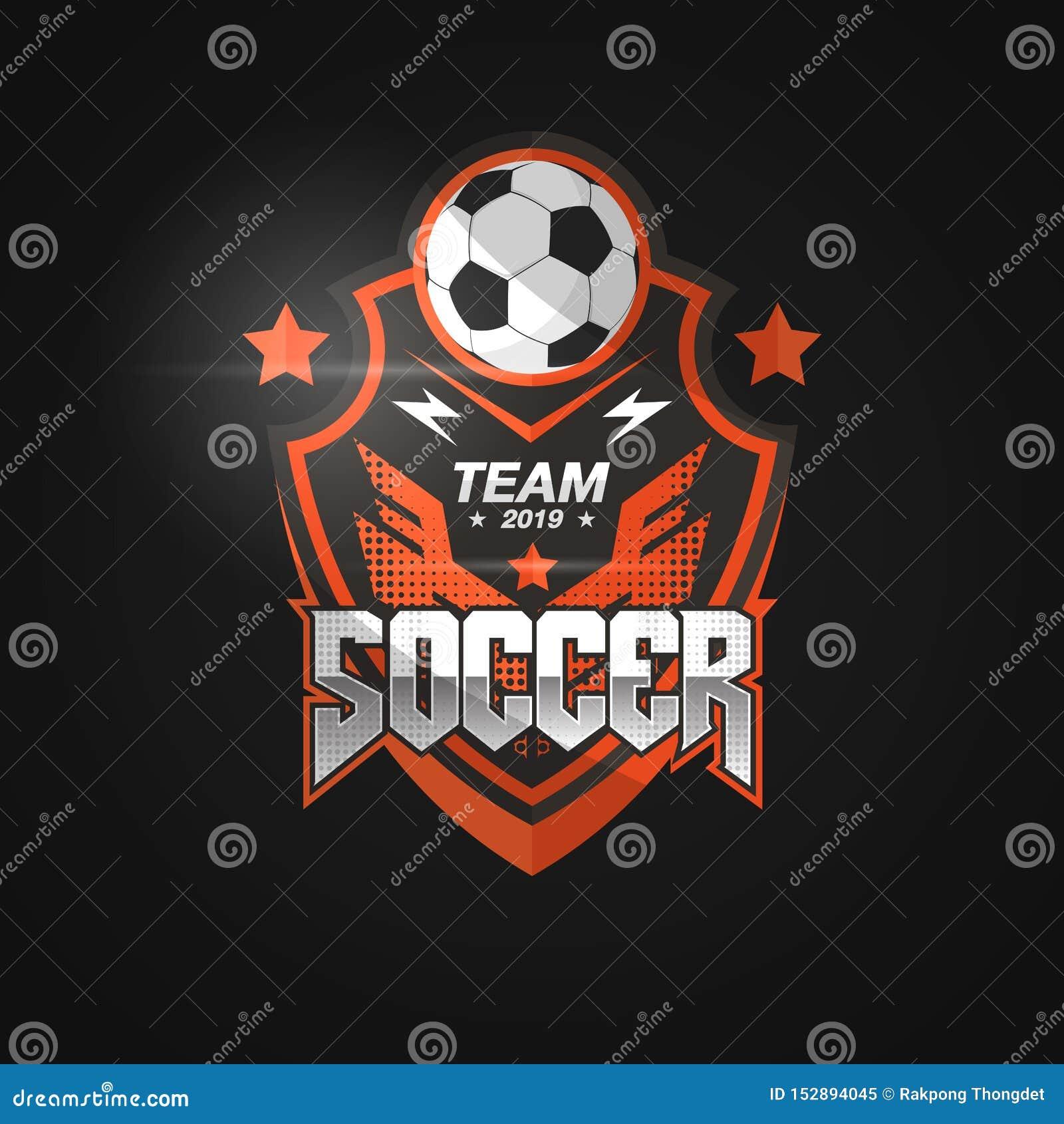 Insignia Logo Design Templates del fútbol del fútbol | Deporte Team Identity Vector Illustrations aislado en fondo negro