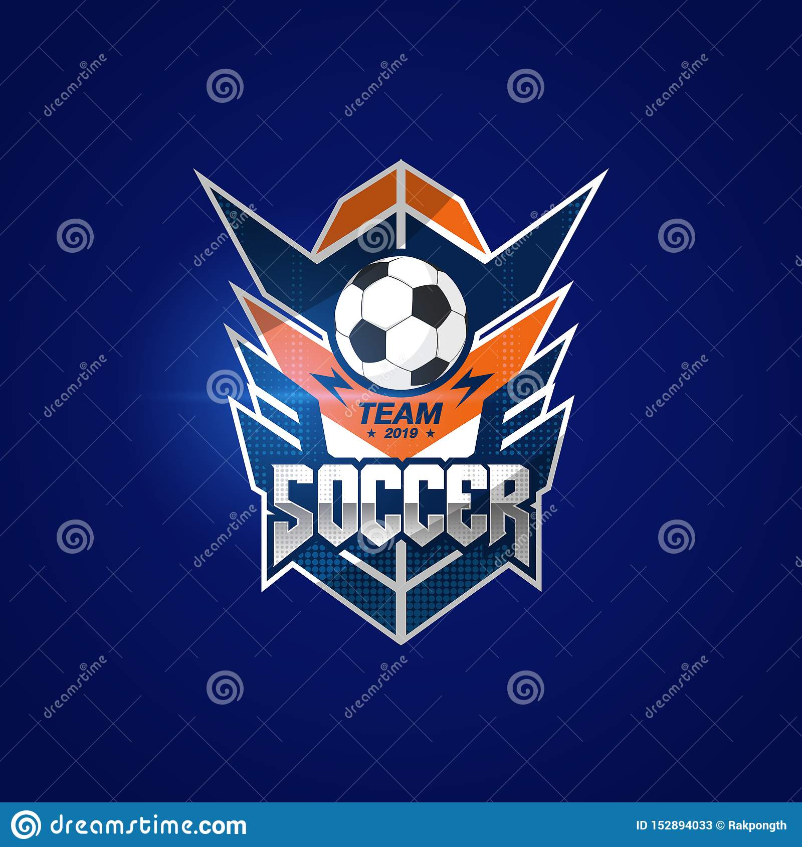Insignia Logo Design Templates del f?tbol del f?tbol | Deporte Team Identity Vector Illustrations aislado en fondo azul