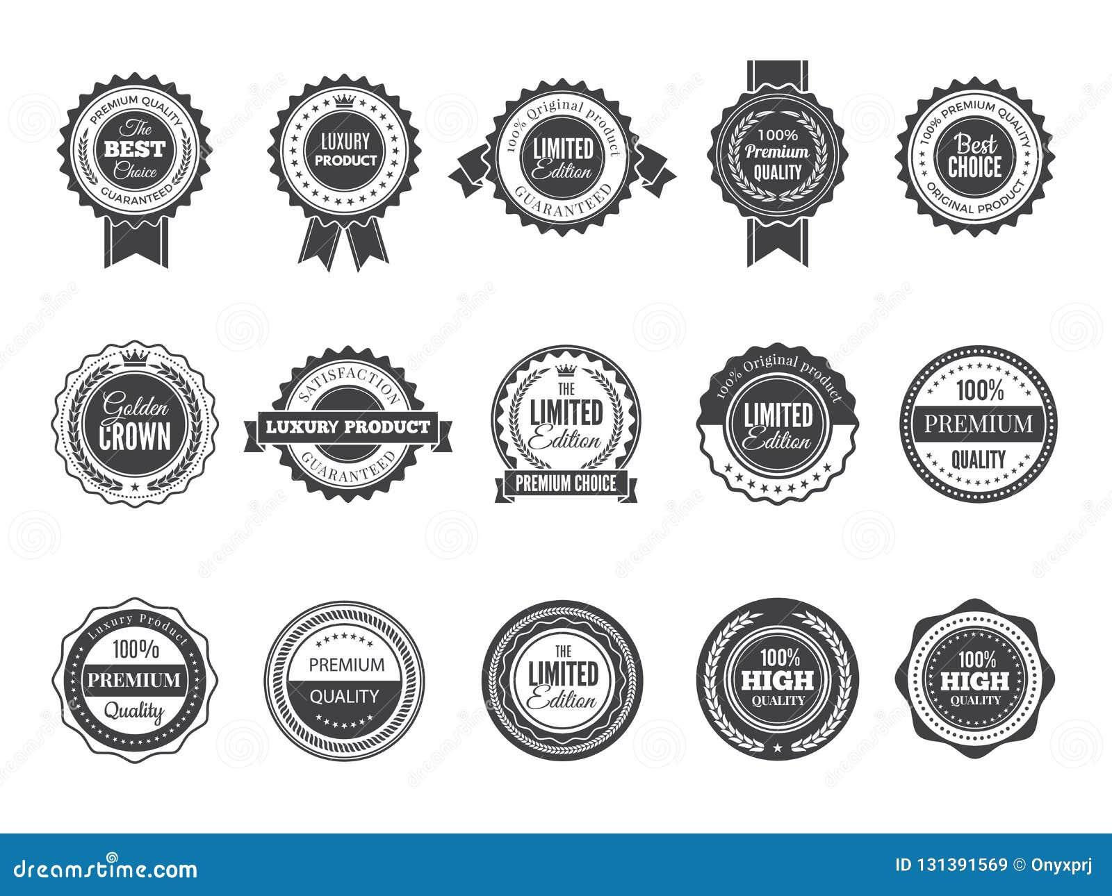 Insignia superior del vintage Mejores etiquetas o logotipos bien escogidos de alta calidad de lujo para la plantilla del negro de