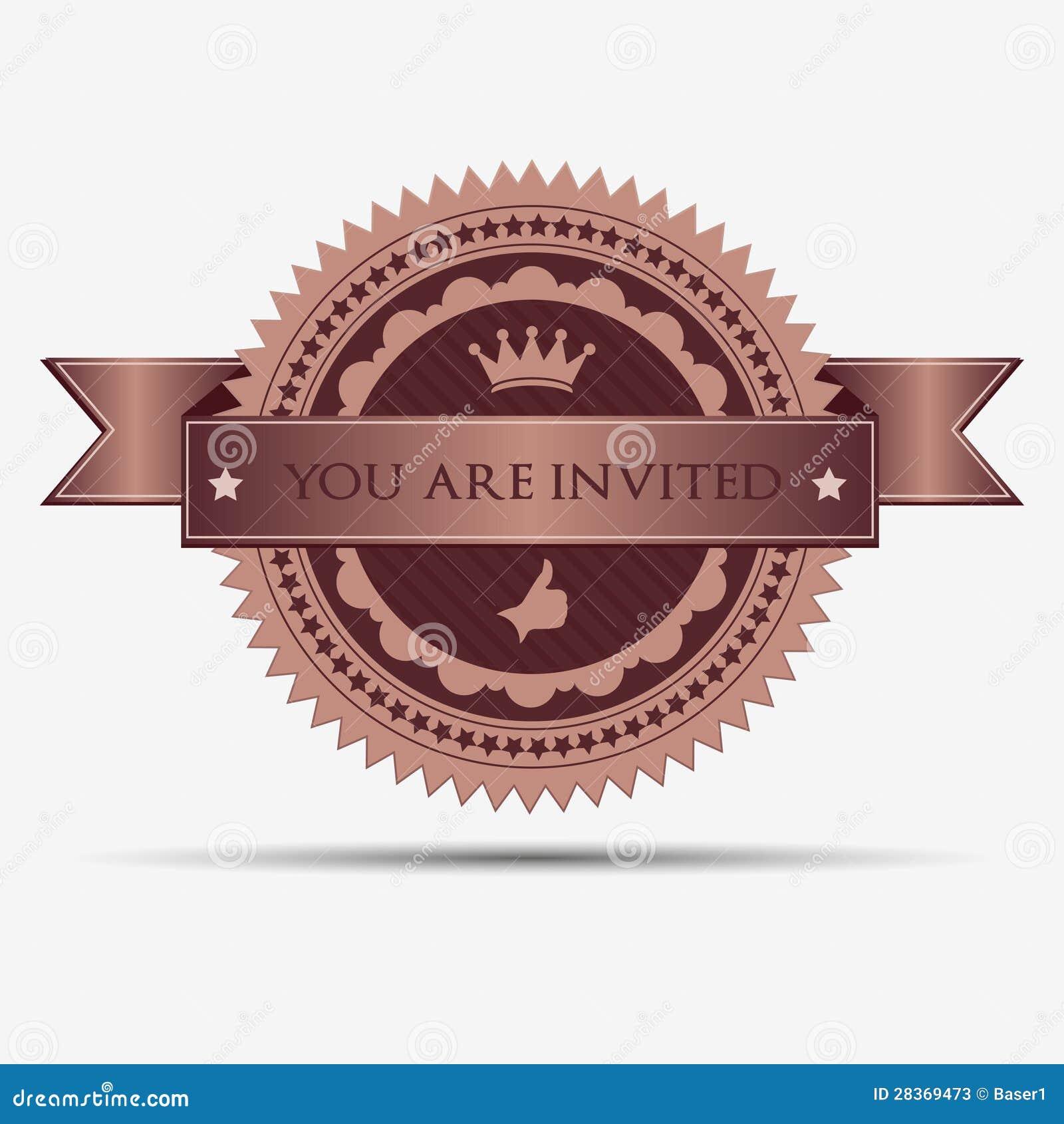 Insignia y etiqueta retras de la invitación