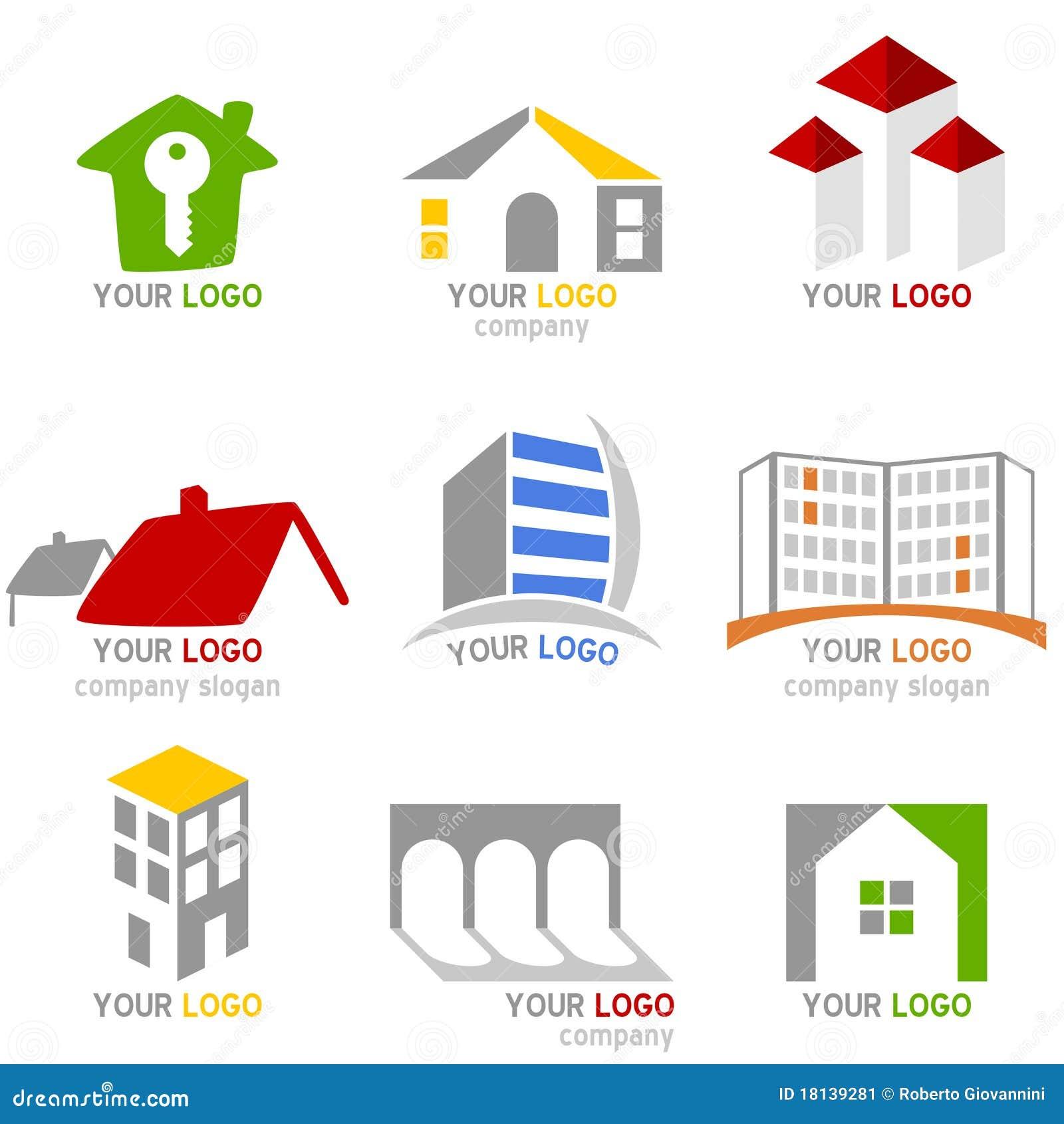 Insignias De Las Propiedades Inmobiliarias Fijadas Imagen