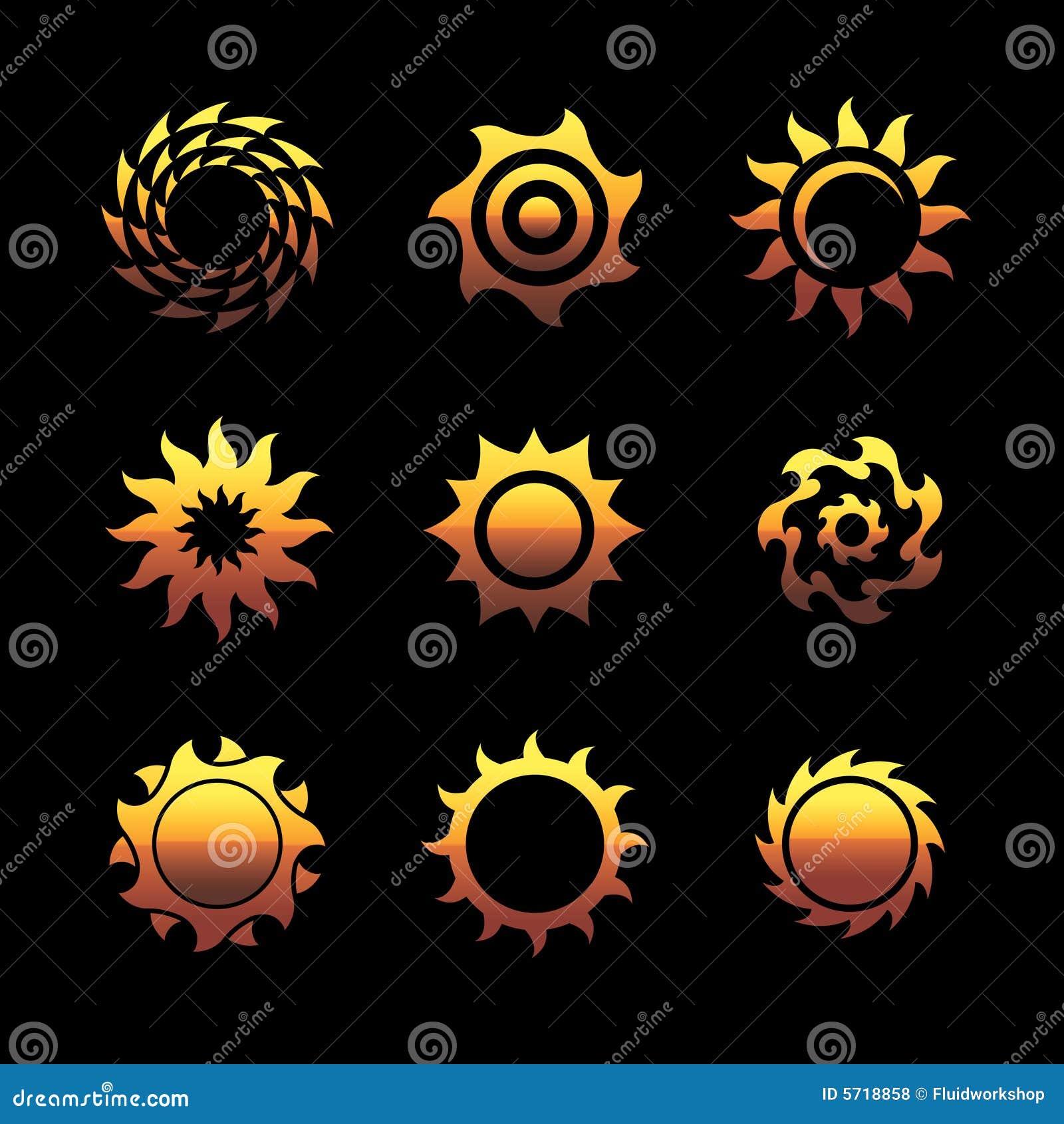 Insignias del sol del vector