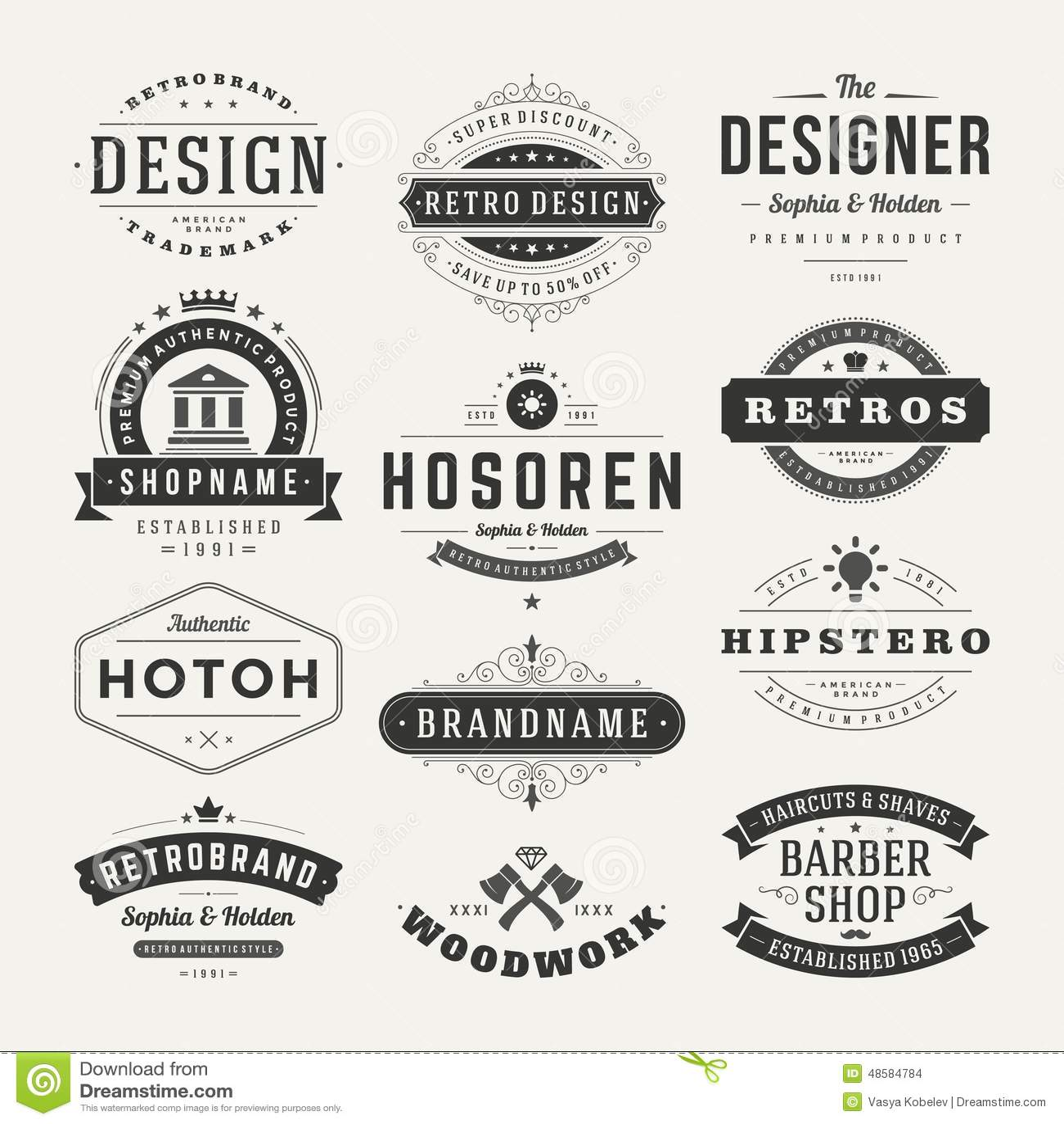 Insignias retras del vintage o vector fijado logotipos