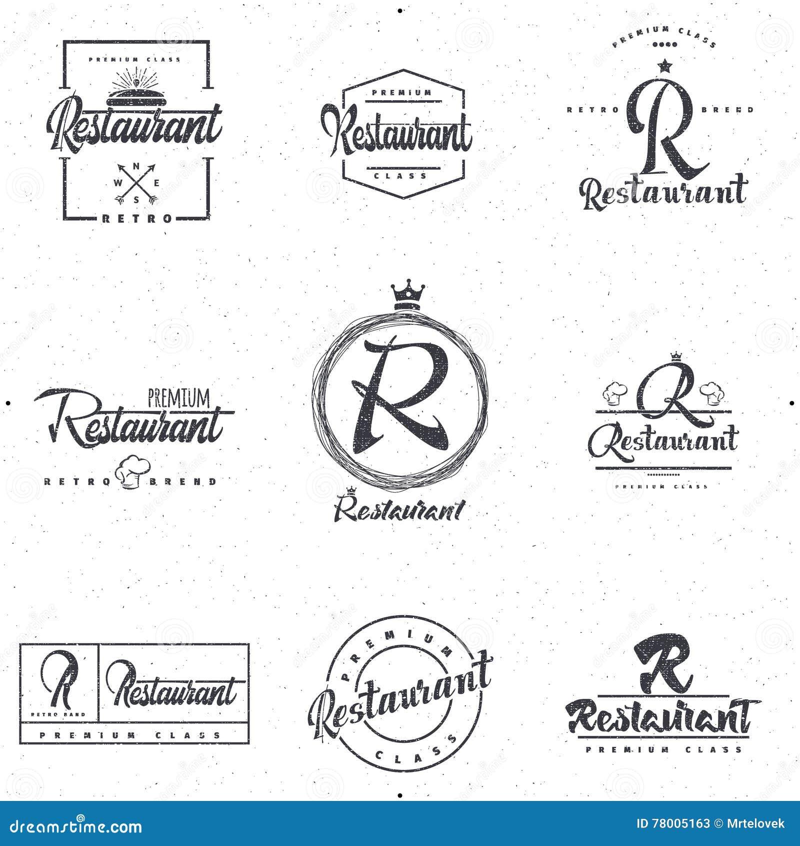 Insignias Y Elementos De Las Etiquetas Para El Restaurante Su Diseño ...