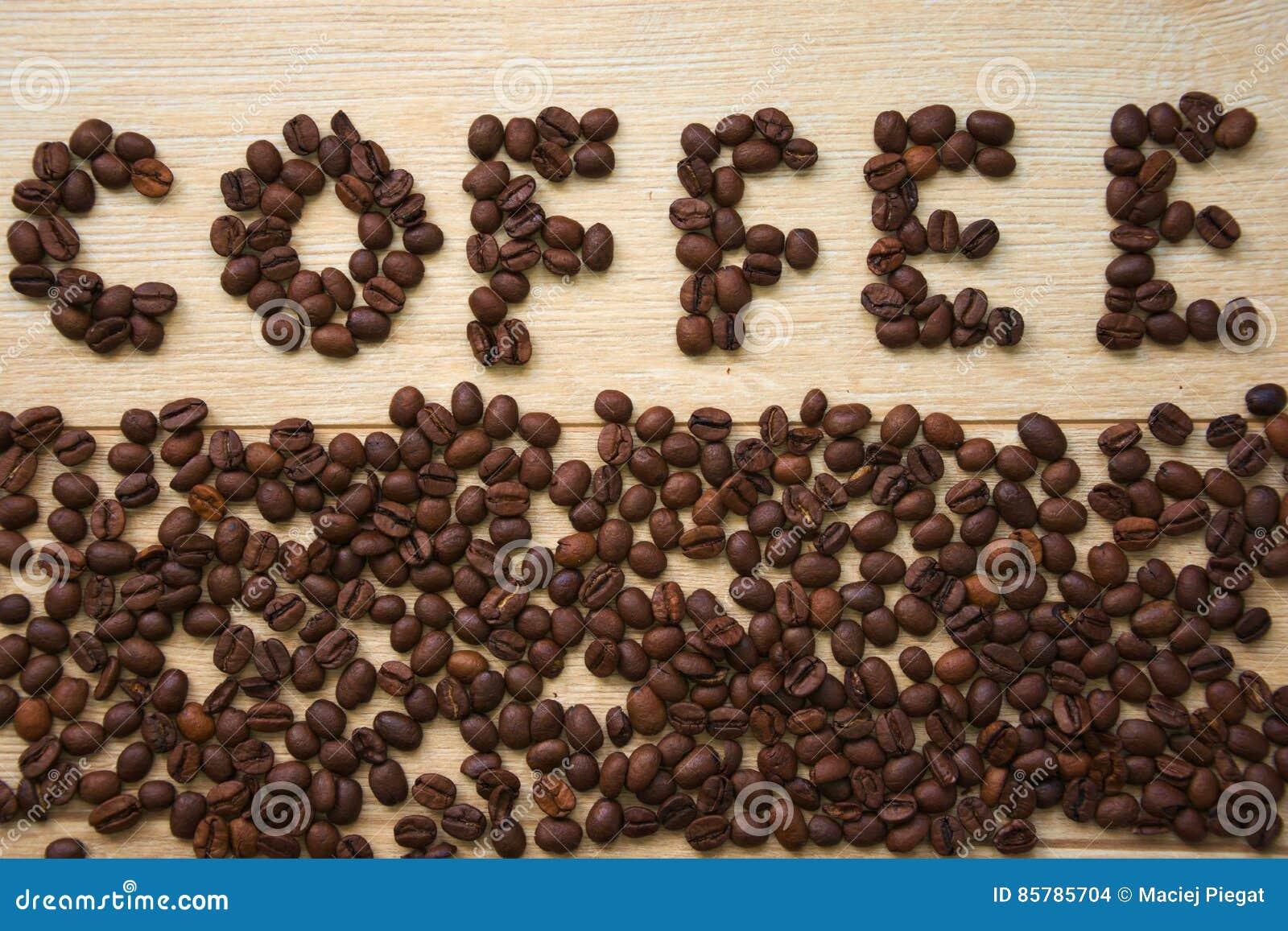 Inskrift av kaffebönor som är ordnade i ordkaffet